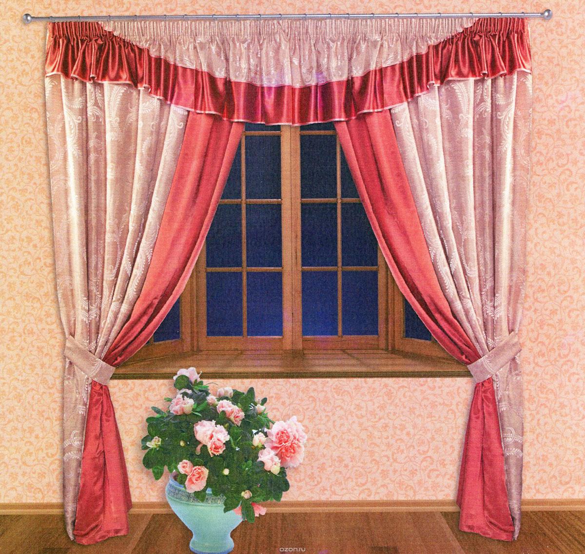Комплект штор Zlata Korunka, на ленте, цвет: красный, бледно-розовый, высота 250 см. 5551055510Роскошный комплект штор Zlata Korunka, выполненный из ткани шанзализе и сатина (100% полиэстера), великолепно украсит любое окно. Комплект состоит из двух портьер, ламбрекена и двух подхватов. Плотная ткань, оригинальный орнамент и приятная, приглушенная гамма привлекут к себе внимание и органично впишутся в интерьер помещения. Комплект крепится на карниз при помощи шторной ленты, которая поможет красиво и равномерно задрапировать верх. Портьеры можно зафиксировать в одном положении с помощью двух подхватов. Этот комплект будет долгое время радовать вас и вашу семью! В комплект входит: Портьера: 2 шт. Размер (ШхВ): 210 см х 250 см. Ламбрекен: 1 шт. Размер (ШхВ): 450 см х 50 см. Подхват: 2 шт. Размер (ШхВ): 60 см х 10 см.
