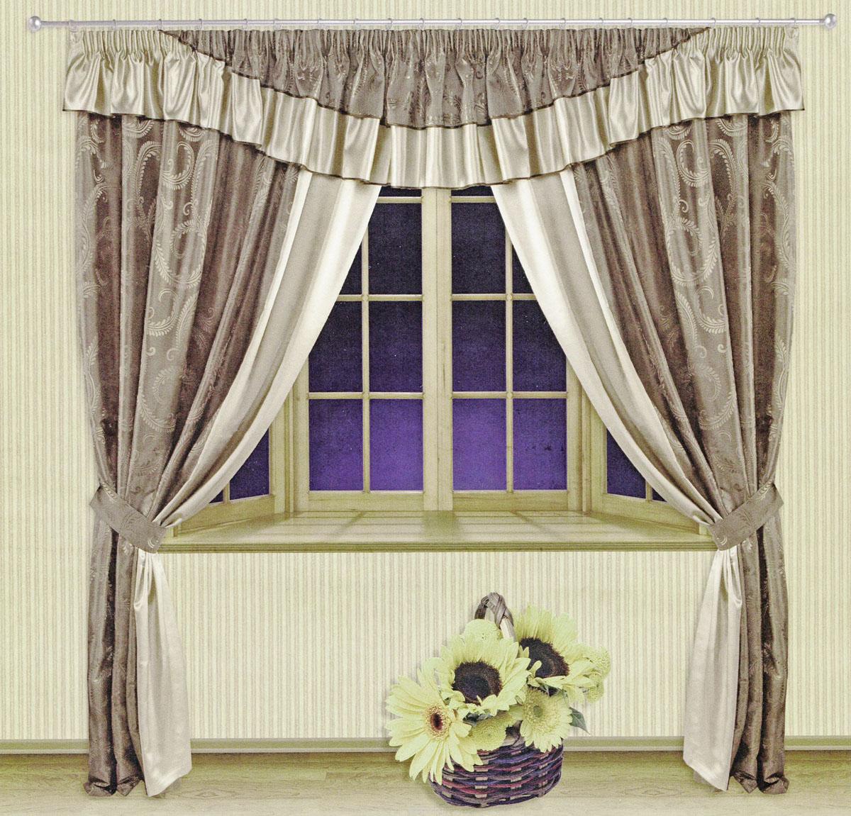 Комплект штор Zlata Korunka, на ленте, цвет: бежевый, серый, высота 250 см. 5550955509Роскошный комплект штор Zlata Korunka, выполненный из ткани шанзализе и сатина (100% полиэстера), великолепно украсит любое окно. Комплект состоит из двух портьер, ламбрекена и двух подхватов. Плотная ткань, оригинальный орнамент и приятная, приглушенная гамма привлекут к себе внимание и органично впишутся в интерьер помещения. Комплект крепится на карниз при помощи шторной ленты, которая поможет красиво и равномерно задрапировать верх. Портьеры можно зафиксировать в одном положении с помощью двух подхватов. Этот комплект будет долгое время радовать вас и вашу семью! В комплект входит: Портьера: 2 шт. Размер (ШхВ): 210 см х 250 см. Ламбрекен: 1 шт. Размер (ШхВ): 450 см х 50 см. Подхват: 2 шт. Размер (ШхВ): 60 см х 10 см.