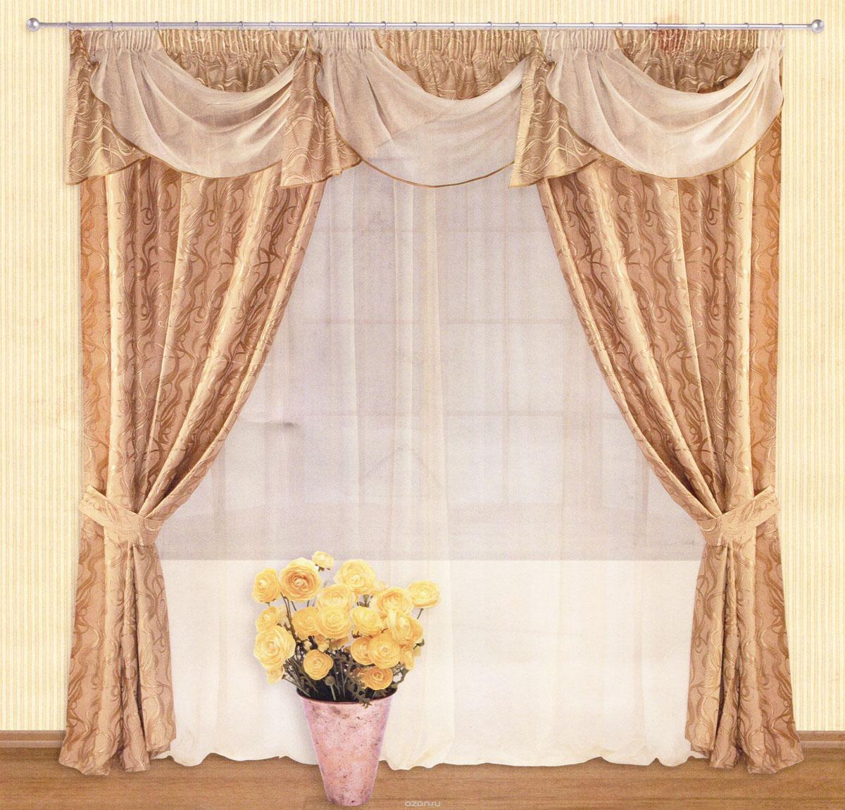 Комплект штор Zlata Korunka, на ленте, цвет: бежевый, высота 250 см. 5551855518Роскошный комплект штор Zlata Korunka, выполненный из сатина, жаккарда и вуали (100% полиэстера), великолепно украсит любое окно. Комплект состоит из двух портьер, тюля, ламбрекена и двух подхватов. Сочетание плотной и полупрозрачной тонкой ткани, волнообразный принт и приятная, приглушенная гамма привлекут к себе внимание и органично впишутся в интерьер помещения. Комплект крепится на карниз при помощи шторной ленты, которая поможет красиво и равномерно задрапировать верх. Портьеры можно зафиксировать в одном положении с помощью двух подхватов. Этот комплект будет долгое время радовать вас и вашу семью! В комплект входит: Портьера: 2 шт. Размер (ШхВ): 140 см х 250 см. Тюль: 1 шт. Размер (ШхВ): 400 см х 250 см. Ламбрекен: 1 шт. Размер (ШхВ): 400 см х 50 см. Подхват: 2 шт. Размер (ШхВ): 60 см х 10 см.