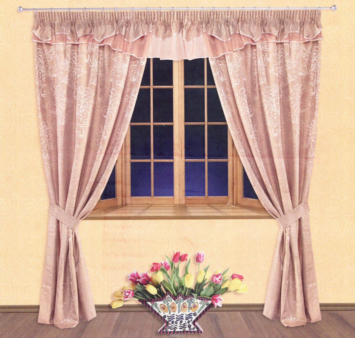 Комплект штор Zlata Korunka, на ленте, цвет: бледно-розовый, высота 250 см. 5552655526Роскошный комплект штор Zlata Korunka, выполненный из сатина, жаккарда и вуали (100% полиэстера), великолепно украсит любое окно. Комплект состоит из двух портьер, ламбрекена и двух подхватов. Сочетание плотной и полупрозрачной тонкой ткани, оригинальный орнамент и приятная, приглушенная гамма привлекут к себе внимание и органично впишутся в интерьер помещения. Комплект крепится на карниз при помощи шторной ленты, которая поможет красиво и равномерно задрапировать верх. Портьеры можно зафиксировать в одном положении с помощью двух подхватов. Этот комплект будет долгое время радовать вас и вашу семью! В комплект входит: Портьера: 2 шт. Размер (ШхВ): 140 см х 250 см. Ламбрекен: 1 шт. Размер (ШхВ): 400 см х 50 см. Подхват: 2 шт. Размер (ШхВ): 60 см х 10 см.
