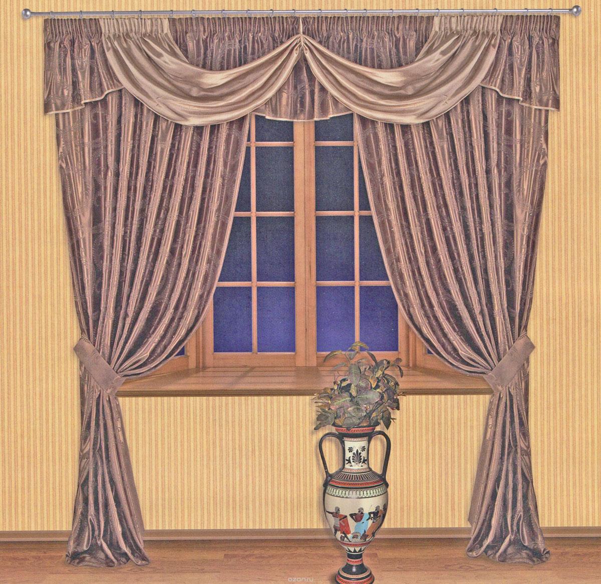 Комплект штор Zlata Korunka, на ленте, цвет: шоколадный, высота 250 см. 5551155511Роскошный комплект штор Zlata Korunka, выполненный из ткани шанзализе, сатина и жаккарда (100% полиэстера), великолепно украсит любое окно. Комплект состоит из двух портьер, ламбрекена и двух подхватов. Плотная ткань, оригинальный орнамент и приятная, приглушенная гамма привлекут к себе внимание и органично впишутся в интерьер помещения. Комплект крепится на карниз при помощи шторной ленты, которая поможет красиво и равномерно задрапировать верх. Портьеры можно зафиксировать в одном положении с помощью двух подхватов. Этот комплект будет долгое время радовать вас и вашу семью! В комплект входит: Портьера: 2 шт. Размер (ШхВ): 200 см х 250 см. Ламбрекен: 1 шт. Размер (ШхВ): 450 см х 50 см. Подхват: 2 шт. Размер (ШхВ): 60 см х 10 см.