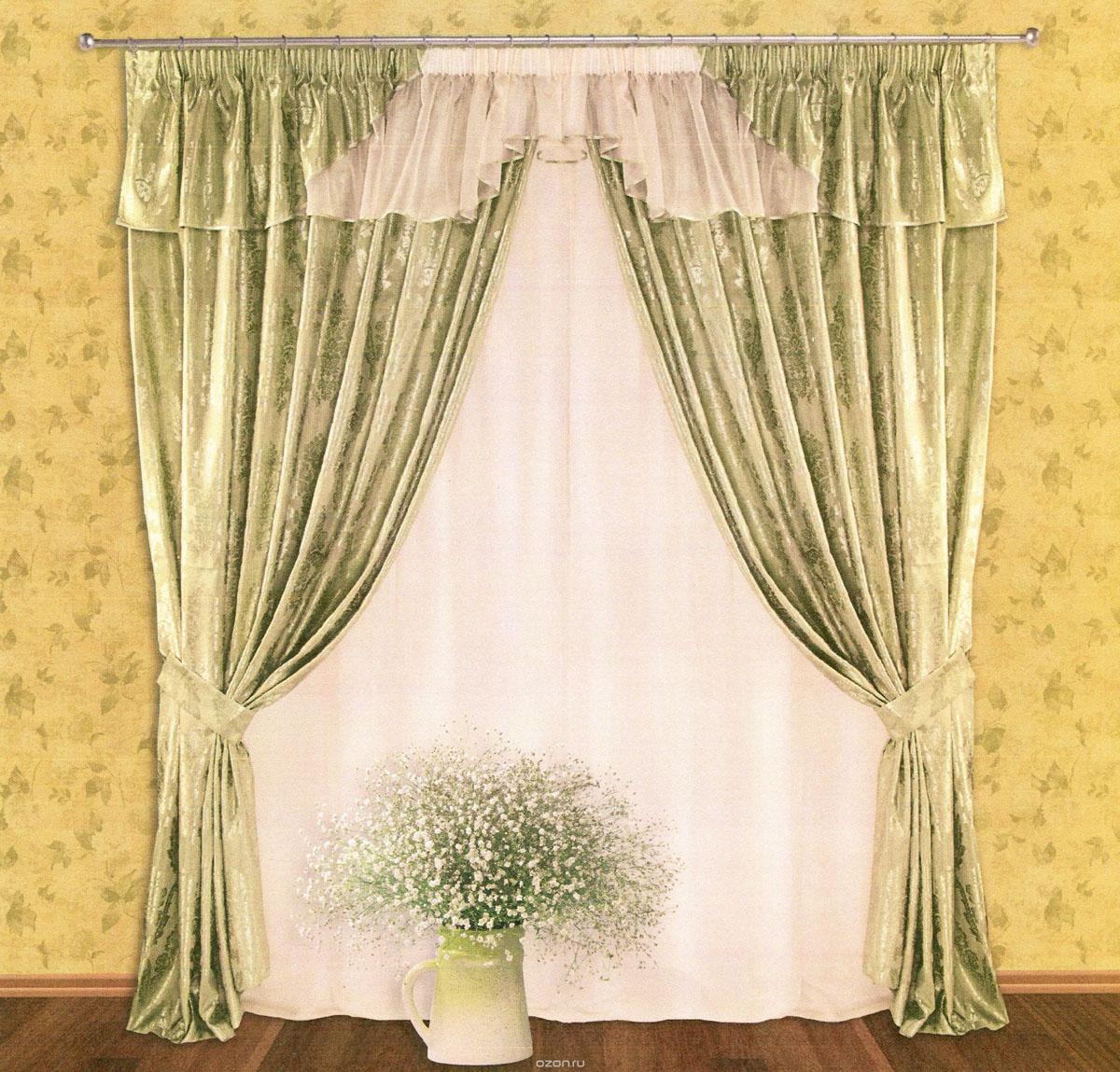 Комплект штор Zlata Korunka, на ленте, цвет: зеленый, высота 250 см. 5550455504Роскошный комплект штор Zlata Korunka, выполненный из сатина, жаккарда и вуали (100% полиэстера), великолепно украсит любое окно. Комплект состоит из двух портьер, тюля, ламбрекена и двух подхватов. Сочетание плотной и полупрозрачной тонкой ткани, оригинальный орнамент и приятная, приглушенная гамма привлекут к себе внимание и органично впишутся в интерьер помещения. Комплект крепится на карниз при помощи шторной ленты, которая поможет красиво и равномерно задрапировать верх. Портьеры можно зафиксировать в одном положении с помощью двух подхватов. Этот комплект будет долгое время радовать вас и вашу семью! В комплект входит: Портьера: 2 шт. Размер (ШхВ): 200 см х 250 см. Тюль: 1 шт. Размер (ШхВ): 400 см х 250 см. Ламбрекен: 1 шт. Размер (ШхВ): 450 см х 50 см. Подхват: 2 шт. Размер (ШхВ): 60 см х 10 см.
