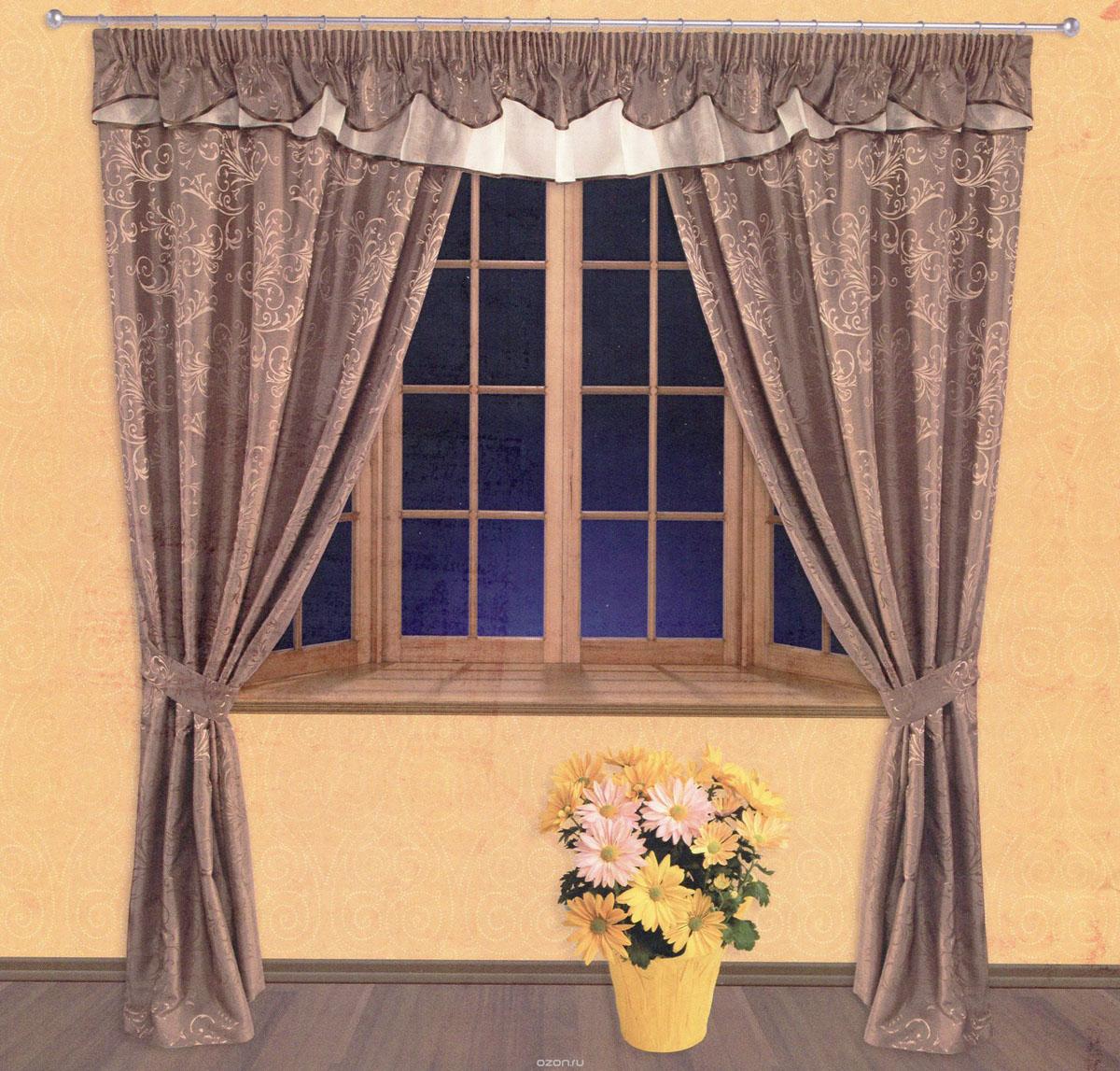 Комплект штор Zlata Korunka, на ленте, цвет: коричневый, высота 250 см. 5552555525Роскошный комплект штор Zlata Korunka, выполненный из сатина, жаккарда и вуали (100% полиэстера), великолепно украсит любое окно. Комплект состоит из двух портьер, ламбрекена и двух подхватов. Сочетание плотной и полупрозрачной тонкой ткани, оригинальный орнамент и приятная, приглушенная гамма привлекут к себе внимание и органично впишутся в интерьер помещения. Комплект крепится на карниз при помощи шторной ленты, которая поможет красиво и равномерно задрапировать верх. Портьеры можно зафиксировать в одном положении с помощью двух подхватов. Этот комплект будет долгое время радовать вас и вашу семью! В комплект входит: Портьера: 2 шт. Размер (ШхВ): 140 см х 250 см. Ламбрекен: 1 шт. Размер (ШхВ): 400 см х 50 см. Подхват: 2 шт. Размер (ШхВ): 60 см х 10 см.
