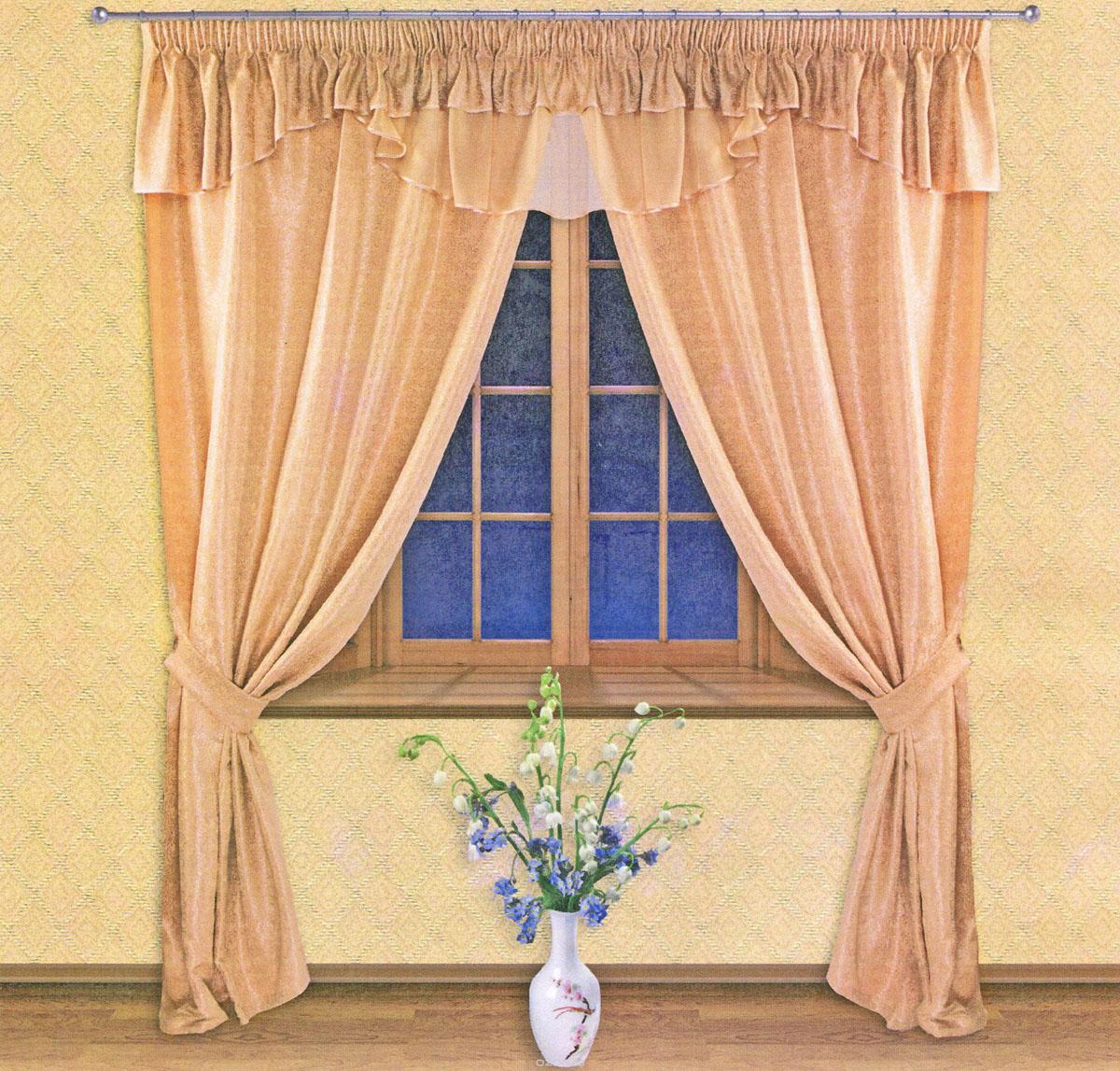 Комплект штор Zlata Korunka, на ленте, цвет: золотистый, высота 250 см. 5551355513Роскошный комплект штор Zlata Korunka, выполненный из сатина, жаккарда и вуали (100% полиэстера), великолепно украсит любое окно. Комплект состоит из двух портьер, тюля, ламбрекена и двух подхватов. Сочетание плотной и полупрозрачной тонкой ткани, цветочный принт и приятная, приглушенная гамма привлекут к себе внимание и органично впишутся в интерьер помещения. Комплект крепится на карниз при помощи шторной ленты, которая поможет красиво и равномерно задрапировать верх. Портьеры можно зафиксировать в одном положении с помощью двух подхватов. Этот комплект будет долгое время радовать вас и вашу семью! В комплект входит: Портьера: 2 шт. Размер (ШхВ): 140 см х 250 см. Ламбрекен: 1 шт. Размер (ШхВ): 450 см х 50 см. Подхват: 2 шт. Размер (ШхВ): 60 см х 10 см.