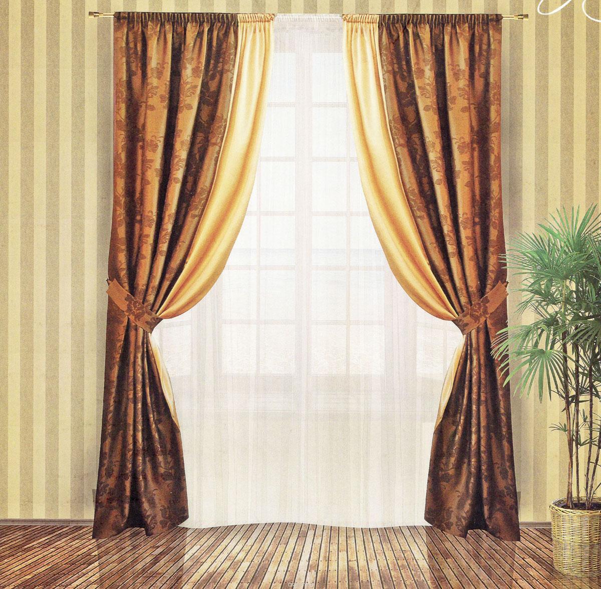 Комплект штор Zlata Korunka, на ленте, цвет: шоколадный, высота 250 см. 5554655546Роскошный комплект штор Zlata Korunka, выполненный из сатина, жаккарда и атласа (100% полиэстера), великолепно украсит любое окно. Комплект состоит из двух портьер и двух подхватов. Плотная ткань, цветочный принт и приятная, приглушенная гамма привлекут к себе внимание и органично впишутся в интерьер помещения. Комплект крепится на карниз при помощи шторной ленты, которая поможет красиво и равномерно задрапировать верх. Портьеры можно зафиксировать в одном положении с помощью двух подхватов. Этот комплект будет долгое время радовать вас и вашу семью! В комплект входит: Портьера: 2 шт. Размер (ШхВ): 150 см х 250 см. Подхват: 2 шт. Размер (ШхВ): 60 см х 10 см.