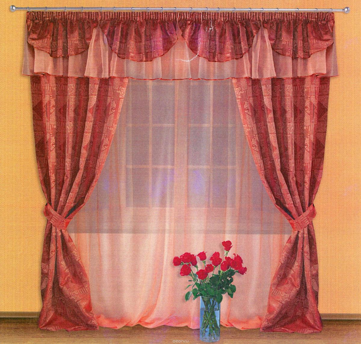 Комплект штор Zlata Korunka, на ленте, цвет: терракотовый, персиковый, высота 250 см. 5552355523Роскошный комплект штор Zlata Korunka, выполненный из сатина, жаккарда и вуали (100% полиэстера), великолепно украсит любое окно. Комплект состоит из двух портьер, тюля, ламбрекена и двух подхватов. Сочетание плотной и полупрозрачной тонкой ткани, оригинальный орнамент и приятная, приглушенная гамма привлекут к себе внимание и органично впишутся в интерьер помещения. Комплект крепится на карниз при помощи шторной ленты, которая поможет красиво и равномерно задрапировать верх. Портьеры можно зафиксировать в одном положении с помощью двух подхватов. Этот комплект будет долгое время радовать вас и вашу семью! В комплект входит: Портьера: 2 шт. Размер (ШхВ): 140 см х 250 см. Тюль: 1 шт. Размер (ШхВ): 400 см х 250 см. Ламбрекен: 1 шт. Размер (ШхВ): 450 см х 50 см. Подхват: 2 шт. Размер (ШхВ): 60 см х 10 см.