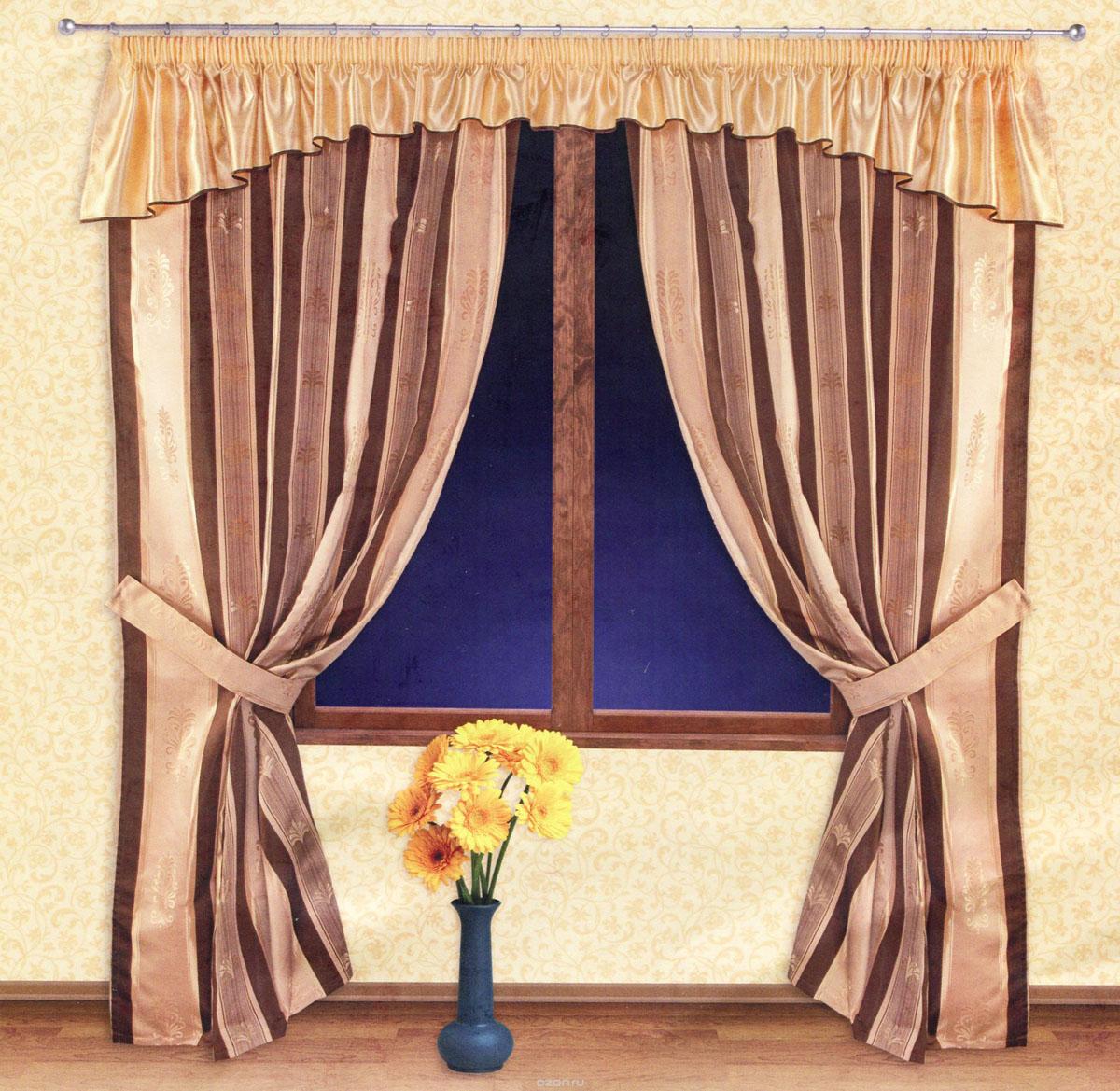 Комплект штор Zlata Korunka, на ленте, цвет: золотистый, шоколадный, высота 250 см. 5551755517Роскошный комплект штор Zlata Korunka, выполненный из ткани барокко и шанзализе (100% полиэстера), великолепно украсит любое окно. Комплект состоит из двух портьер, ламбрекена и двух подхватов. Плотная ткань, оригинальный орнамент и приятная, приглушенная гамма привлекут к себе внимание и органично впишутся в интерьер помещения. Комплект крепится на карниз при помощи шторной ленты, которая поможет красиво и равномерно задрапировать верх. Портьеры можно зафиксировать в одном положении с помощью двух подхватов. Этот комплект будет долгое время радовать вас и вашу семью! В комплект входит: Портьера: 2 шт. Размер (ШхВ): 140 см х 250 см. Ламбрекен: 1 шт. Размер (ШхВ): 400 см х 50 см. Подхват: 2 шт. Размер (ШхВ): 60 см х 10 см.