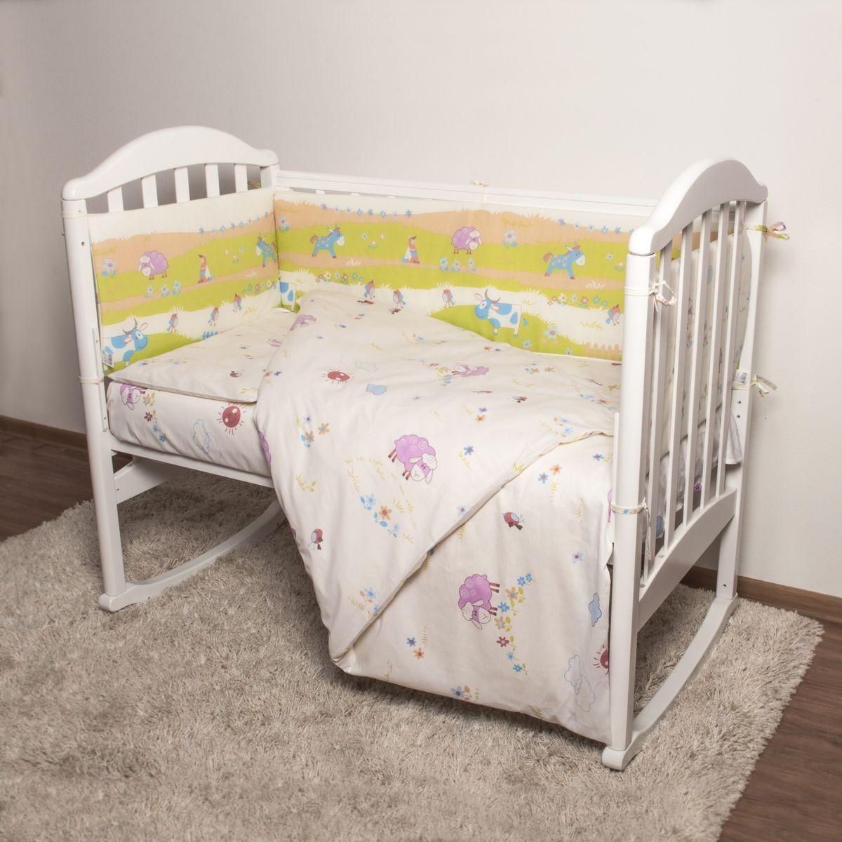 Baby Nice Детский комплект в кроватку Ферма (КПБ, бязь, наволочка 40х60), цвет: желтыйН613-04Комплект в кроватку Baby Nice Ферма для самых маленьких изготовлен только из самой качественной ткани, самой безопасной и гигиеничной, самой экологичной и гипоаллергенной. Отлично подходит для кроваток малышей, которые часто двигаются во сне. Хлопковое волокно прекрасно переносит стирку, быстро сохнет и не требует особого ухода, не линяет и не вытягивается. Ткань прошла специальную обработку по умягчению, что сделало ее невероятно мягкой и приятной к телу. Комплект создаст дополнительный комфорт и уют ребенку. Родителям не составит особого труда ухаживать за комплектом. Он превосходно стирается, легко гладится. Ваш малыш будет в восторге от такого необыкновенного постельного набора! В комплект входит: одеяло, пододеяльник, подушка, наволочка, простыня, борт.