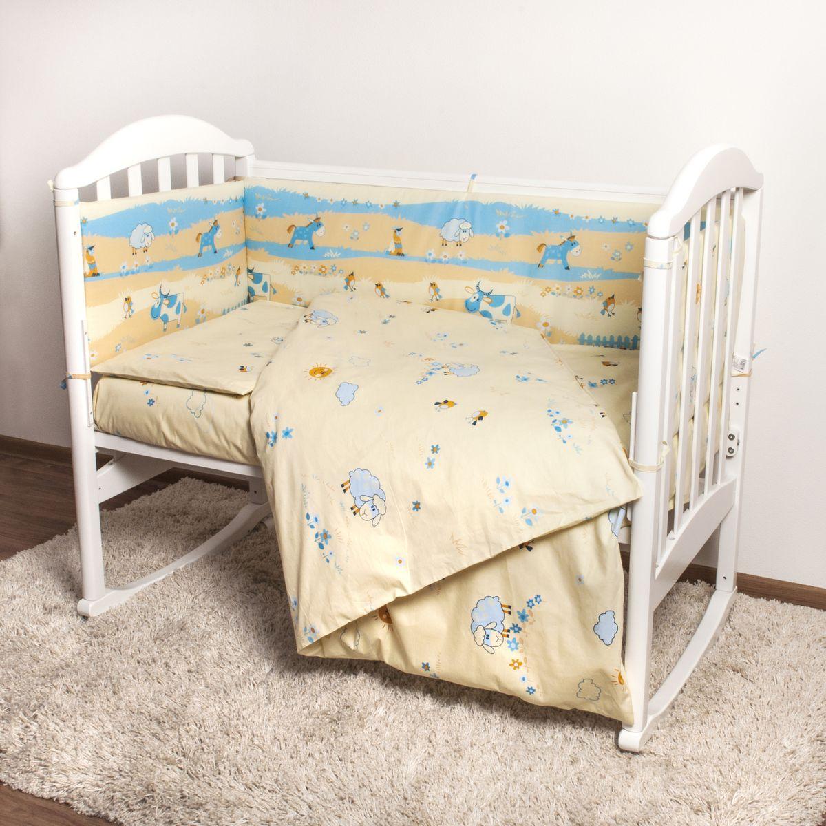 Baby Nice Детский комплект в кроватку Ферма (КПБ, бязь, наволочка 40х60), цвет: бежевый, голубойН613-04Комплект в кроватку Baby Nice Ферма для самых маленьких изготовлен только из самой качественной ткани, самой безопасной и гигиеничной, самой экологичной и гипоаллергенной. Отлично подходит для кроваток малышей, которые часто двигаются во сне. Хлопковое волокно прекрасно переносит стирку, быстро сохнет и не требует особого ухода, не линяет и не вытягивается. Ткань прошла специальную обработку по умягчению, что сделало ее невероятно мягкой и приятной к телу. Комплект создаст дополнительный комфорт и уют ребенку. Родителям не составит особого труда ухаживать за комплектом. Он превосходно стирается, легко гладится. Ваш малыш будет в восторге от такого необыкновенного постельного набора! В комплект входит: одеяло, пододеяльник, подушка, наволочка, простыня, борт.
