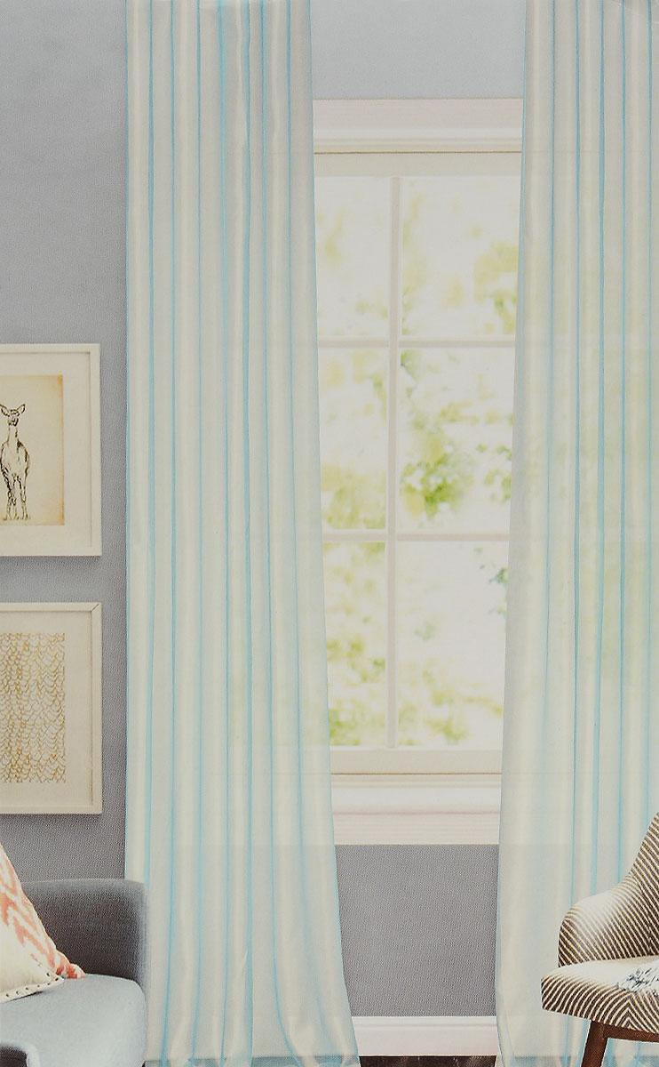 Штора готовая для гостиной Garden, на ленте, цвет: светло-бирюзовый, размер 300*260 см. C W875 V27C W875 V27Изящная тюлевая штора Garden выполнена из структурной органзы (100% полиэстера). Полупрозрачная ткань, приятный цвет привлекут к себе внимание и органично впишутся в интерьер помещения. Такая штора идеально подходит для солнечных комнат. Мягко рассеивая прямые лучи, она хорошо пропускает дневной свет и защищает от посторонних глаз. Отличное решение для многослойного оформления окон. Штора крепится на карниз при помощи ленты, которая поможет красиво и равномерно задрапировать верх.