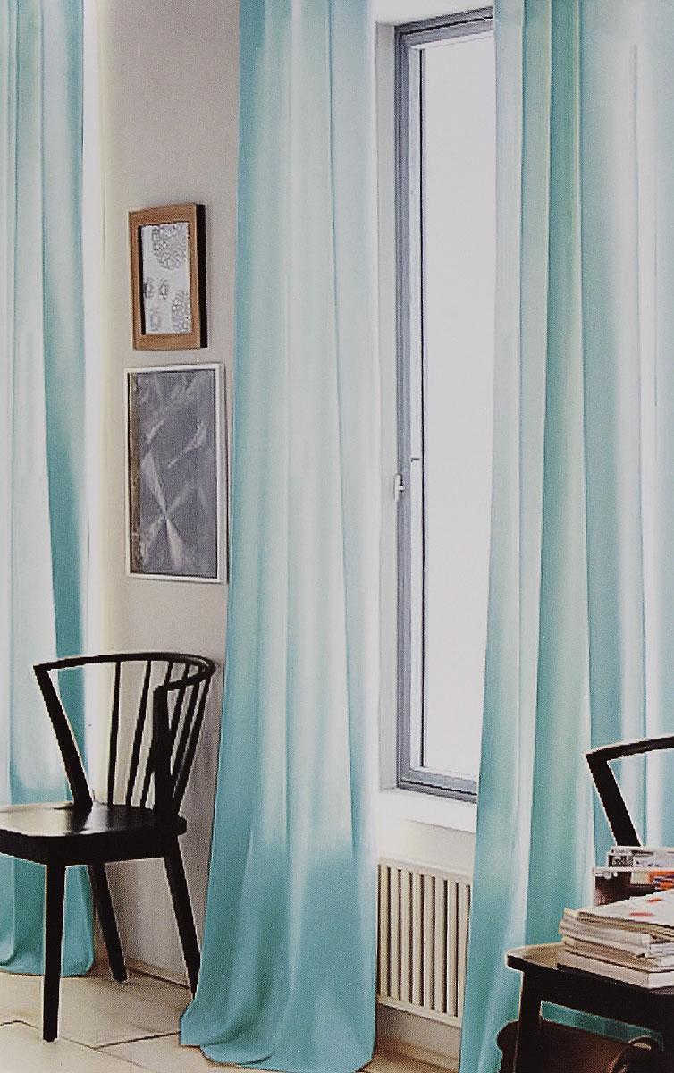 Штора готовая для гостиной Garden, на ленте, цвет: бирюзовый, размер 300*260 см. C W191 V73023C W191 V73023Изящная тюлевая штора Garden выполнена из вуали (100% полиэстера). Полупрозрачная ткань, приятный цвет привлекут к себе внимание и органично впишутся в интерьер помещения. Такая штора идеально подходит для солнечных комнат. Мягко рассеивая прямые лучи, она хорошо пропускает дневной свет и защищает от посторонних глаз. Отличное решение для многослойного оформления окон. Штора крепится на карниз при помощи ленты, которая поможет красиво и равномерно задрапировать верх.