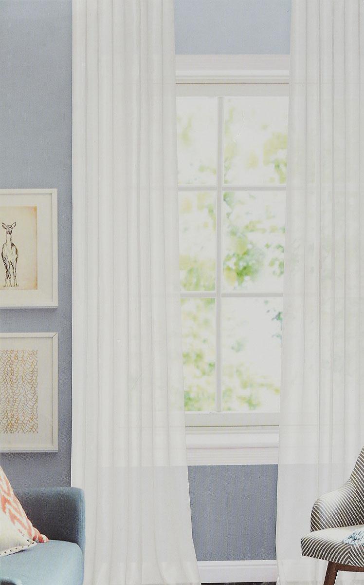 Штора готовая Garden, на ленте, цвет: белый, размер 300*260 см. C W1012 V1C W1012 V1Изящная тюлевая штора Garden выполнена из структурной органзы (100% полиэстера). Полупрозрачная ткань, приятный цвет привлекут к себе внимание и органично впишутся в интерьер помещения. Такая штора идеально подходит для солнечных комнат. Мягко рассеивая прямые лучи, она хорошо пропускает дневной свет и защищает от посторонних глаз. Отличное решение для многослойного оформления окон. Штора крепится на карниз при помощи ленты, которая поможет красиво и равномерно задрапировать верх.