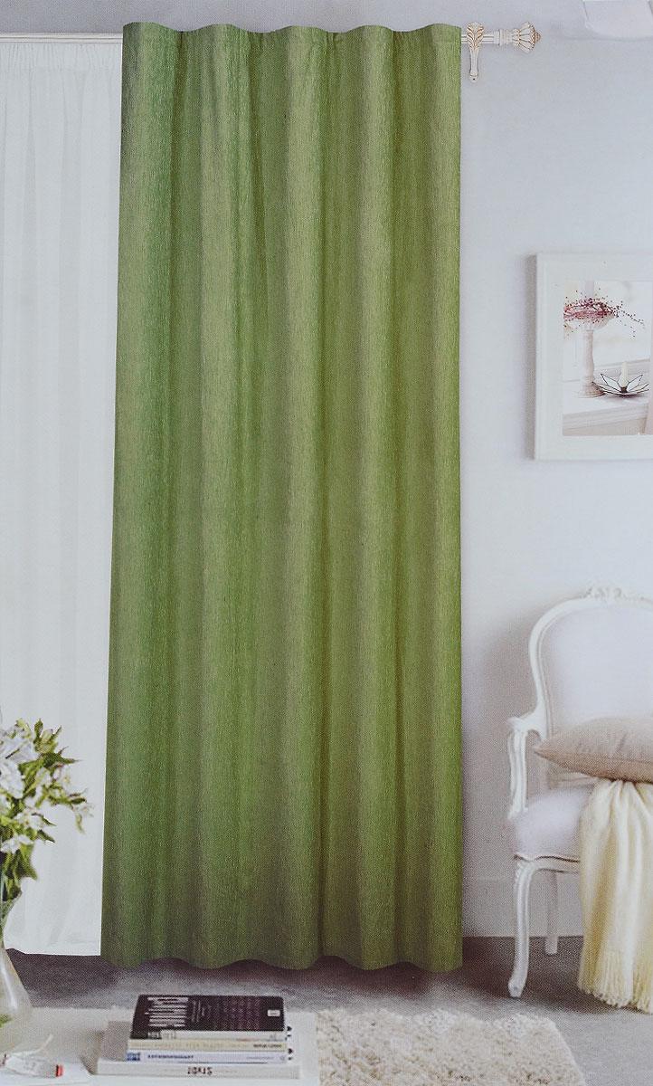 Штора готовая Garden, на ленте, цвет: зеленый, размер 200*260 см. С 535823 V73171С 535823 V73171Готовая портьерная штора Garden выполнена из шинила (100% полиэстера). Материал плотный и мягкий на ощупь. Оригинальная текстура ткани и спокойная цветовая гамма привлекут к себе внимание и органично впишутся в интерьер помещения. Эта штора будет долгое время радовать вас и вашу семью! Штора крепится на карниз при помощи ленты, которая поможет красиво и равномерно задрапировать верх. Стирка при температуре 30°С.