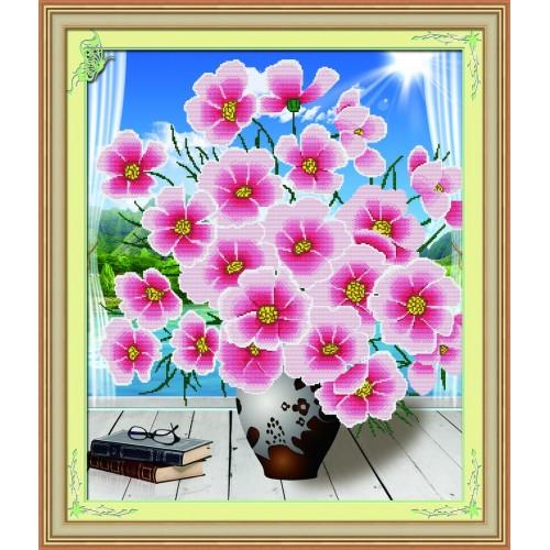 Набор для изготовления картины со стразами Cristal Букет на окне, 63 х 53 см7711536Набор для изготовления картины со стразами Cristal Букет на окне поможет вам создать свой личный шедевр. Работа, выполненная своими руками, станет отличным подарком для друзей и близких! Набор содержит: - полотно-схема с нанесенным рисунком и клеевым слоем (71 см х 61 см), - пластиковое блюдце; - стразы (11 цветов), - карандаш; - пинцет; - инструкция на русском языке. Подарите близким тепло ваших рук! УВАЖАЕМЫЕ КЛИЕНТЫ! Обращаем ваше внимание, на тот факт, что рамка в комплект не входит, а служит для визуального восприятия товара.