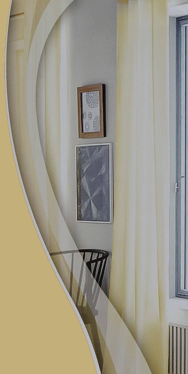 Штора готовая для гостиной Garden, на ленте, цвет: шампань, размер 300*260 см. C W191 V72212C W191 V72212Изящная тюлевая штора Garden выполнена из высококачественной вуали (100% полиэстера). Полупрозрачная ткань, приятный цвет привлекут к себе внимание и органично впишутся в интерьер помещения. Такая штора идеально подходит для солнечных комнат. Мягко рассеивая прямые лучи, она хорошо пропускает дневной свет и защищает от посторонних глаз. Отличное решение для многослойного оформления окон. Штора крепится на карниз при помощи ленты, которая поможет красиво и равномерно задрапировать верх.