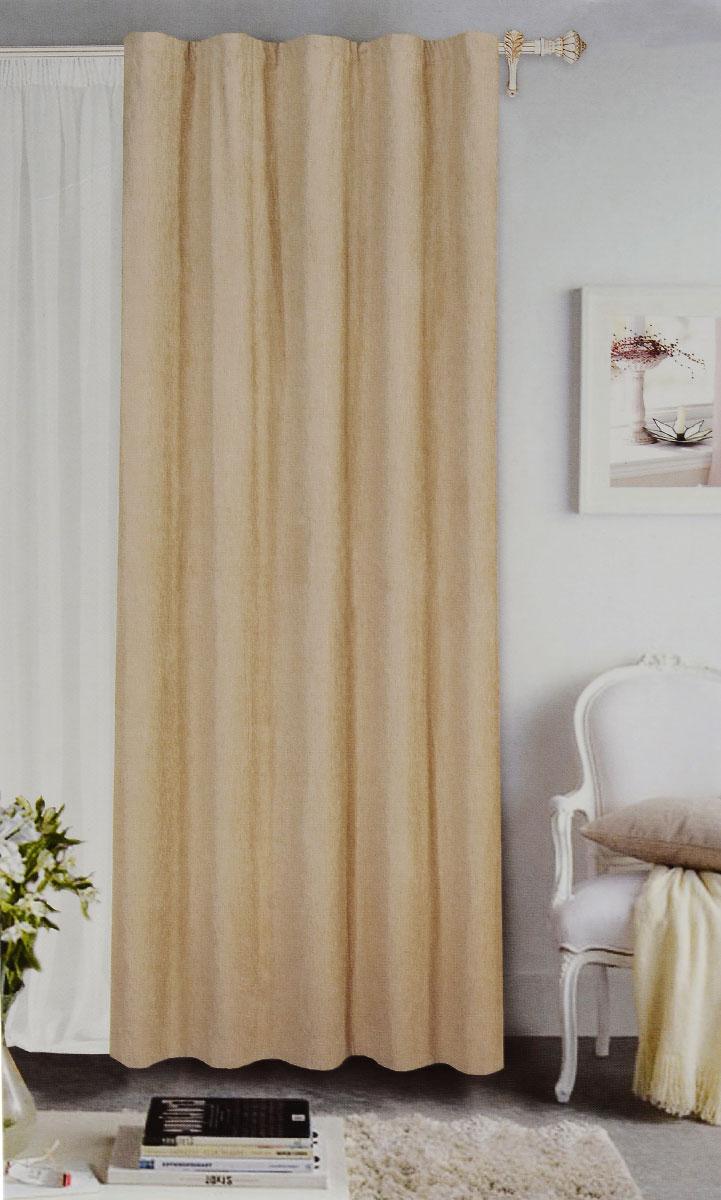 Штора готовая Garden, на ленте, цвет: бежевый, размер 200*260 см. С 535823 V71172С 535823 V71172Готовая портьерная штора Garden выполнена из шинила (100% полиэстера). Материал плотный и мягкий на ощупь. Оригинальная текстура ткани и спокойная цветовая гамма привлекут к себе внимание и органично впишутся в интерьер помещения. Эта штора будет долгое время радовать вас и вашу семью! Штора крепится на карниз при помощи ленты, которая поможет красиво и равномерно задрапировать верх. Стирка при температуре 30°С.