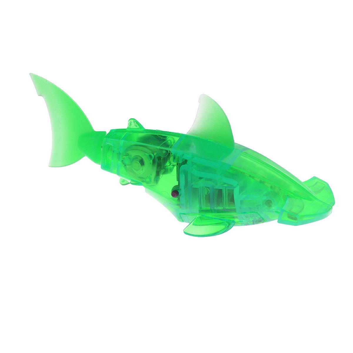 Микро-робот Hexbug Aquabot Hammerhead, со световыми эффектами, цвет: зеленый460-2976_2Уникальный микро-робот Hexbug Aquabot Hammerhead изготовлен из безопасного пластика в виде рыбы-молота. Теперь микро-роботы осваивают и водные глубины! Робот-рыбка Hexbug Aquabot Hammerhead плавает как настоящая рыба и непредсказуем в направлении движения. Опустите его в воду и он оживет! Если микро-робот замер, то достаточно просто всколыхнуть воду и он снова поплывет. Вне воды он автоматически выключается. Но и это еще не все, теперь микро-роботы рыбки оснащены световыми эффектами! Для работы игрушки необходимы 2 батарейки типа LR44 (товар комплектуется демонстрационными).