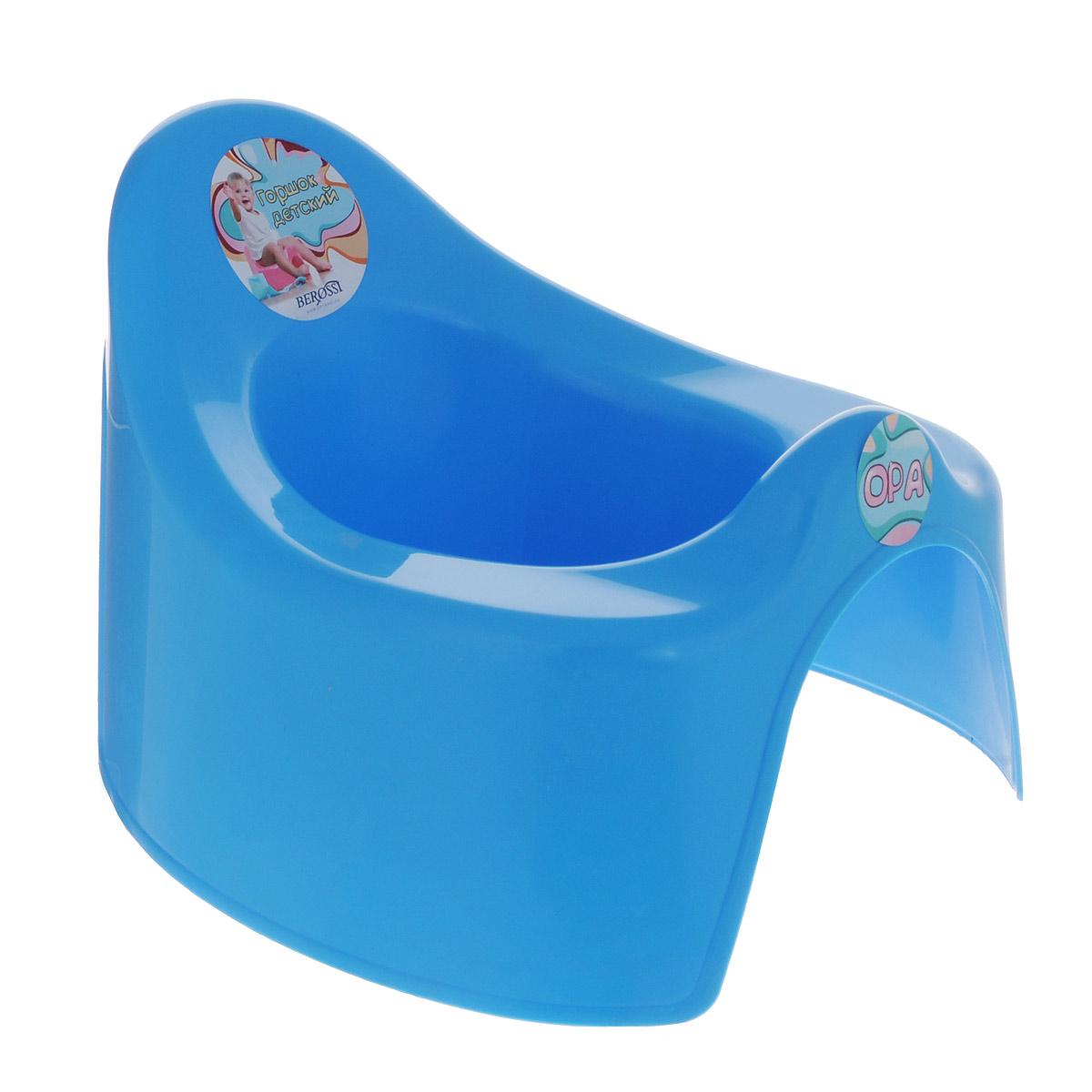 Горшок детский Berossi Opa, цвет: голубая лагунаАС21247Детский горшок Berossi Opa голубого цвета выполнен из безопасного пластика без содержания токсичных элементов. Анатомическая форма сиденья повторяет контуры тела ребенка, что обеспечивает ему максимальный комфорт. Горшок очень легкий и имеет гладкую закругленную поверхность, которую легко мыть.