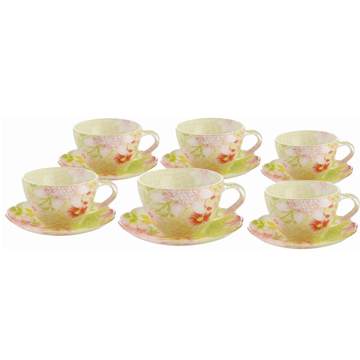 Набор чайный BK-5849 12прBK-584912пр.: чашка - 6шт. (200мл), блюдце - 6шт. (13,5см). Подарочная упаковка. Состав: стекло.