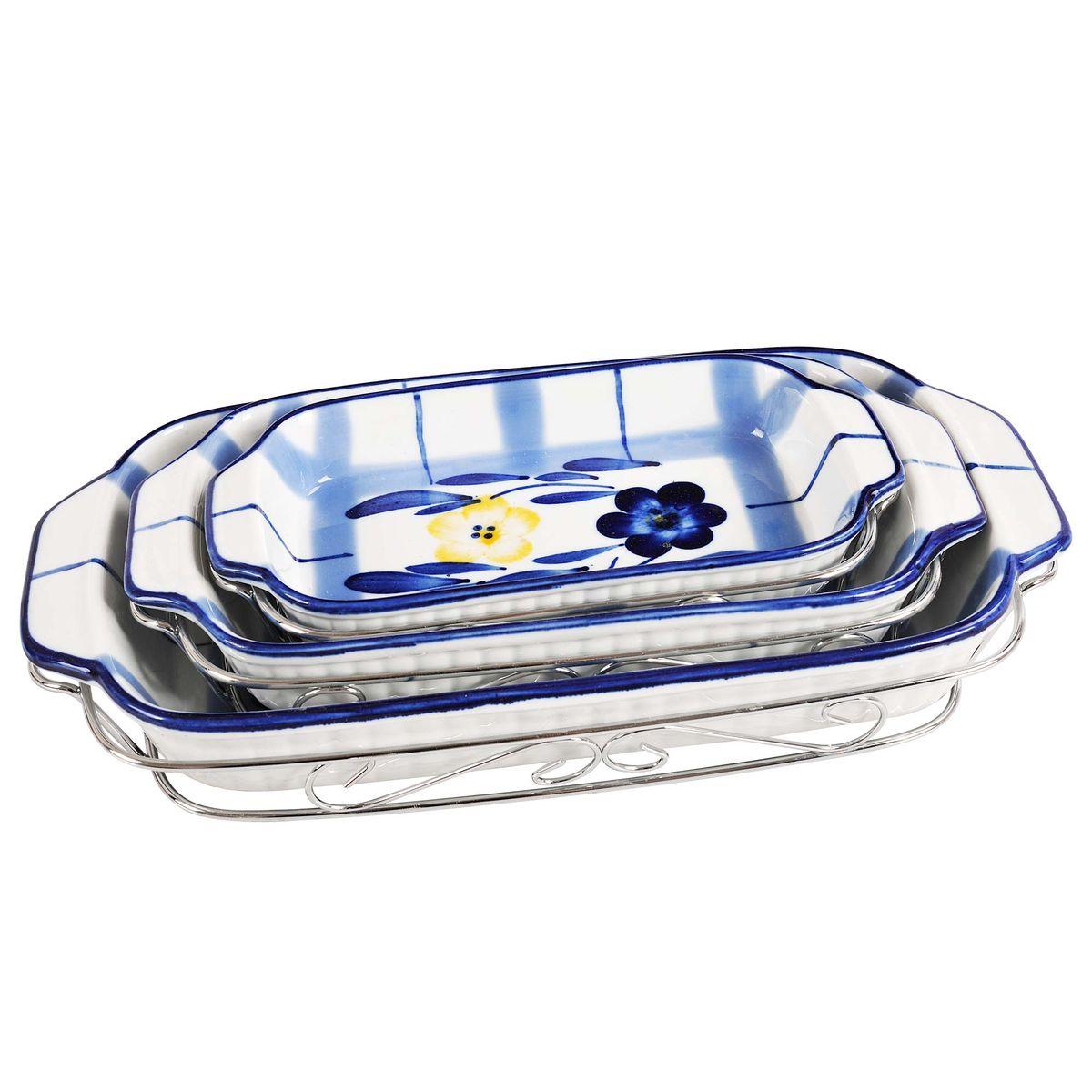 Набор блюд BK-7308 из 6 прBK-73083 блюда на подставках метал.: (21*11*3; 25,5*14*3,5; 31*16*4.5см). Состав: жаропр. керамика.