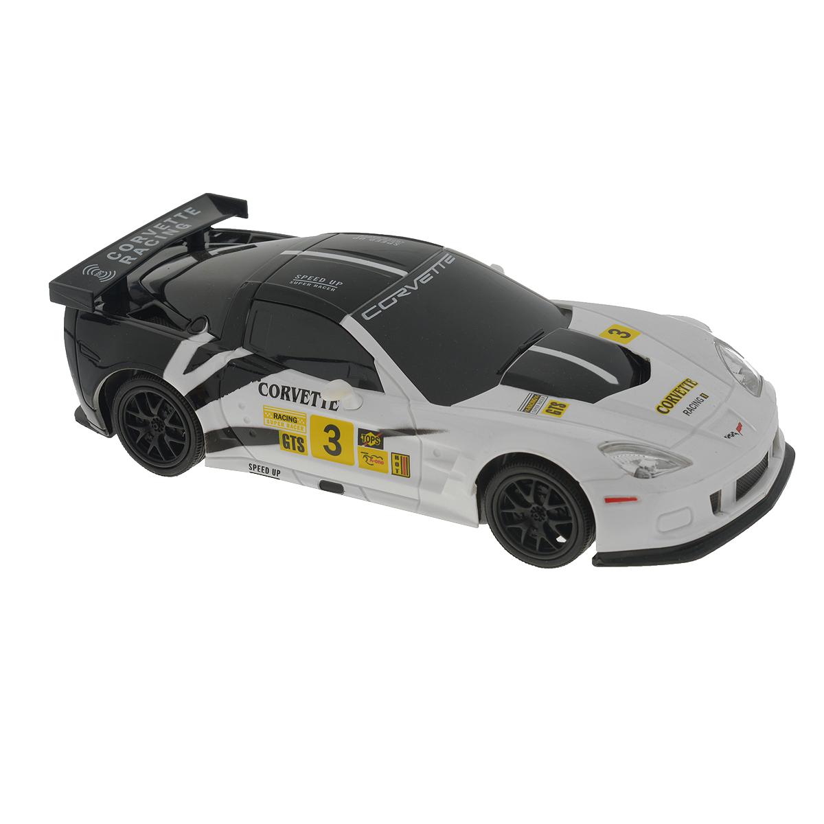 Машинка инерционная Guokai Corvette C6-R, цвет: черный, белый. Масштаб 1:241120870/866-82417_черный, белыйМашинка инерционная Guokai Corvette C6-R выполненная из безопасных полимерных материалов и резины, станет любимой игрушкой вашего ребенка! Машина является точной уменьшенной копией настоящего автомобиля. Игрушка оснащена инерционным ходом. Машинку необходимо отвести назад, затем отпустить - и она быстро поедет вперед. Прорезиненные колеса обеспечивают надежное сцепление с любой гладкой поверхностью. Ребенок увидит в такой машинке увлекательную и серьёзную игрушку, которая вызовет невероятный всплеск положительных эмоций. Ваш ребенок часами будет играть с такой игрушкой, придумывая различные истории и устраивая соревнования. Эта машинка будет интересна не только детям, но и взрослым коллекционерам. Рекомендуется докупить 3 батарейки напряжением 1,5V типа АА (товар комплектуется демонстрационными).