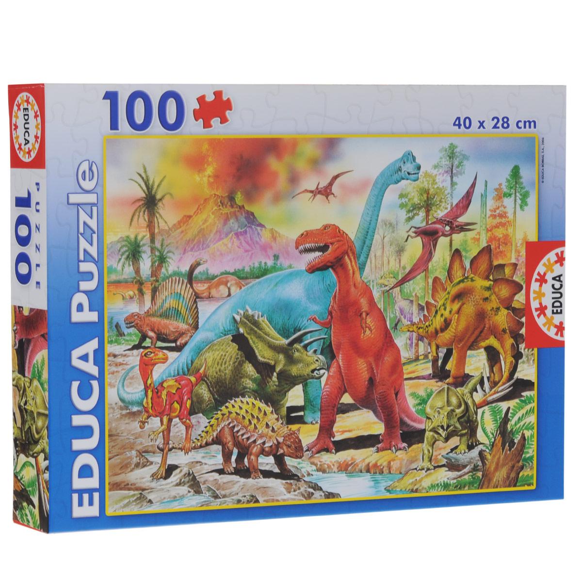 Educa Динозавры. Пазл, 100 элементов13179Пазл Динозавры без сомнения, придется по душе вам и вашему ребенку. Собрав этот пазл, включающий в себя 100 элементов, вы получите красочную картинку с изображением динозавров. Пазл - великолепная игра для семейного досуга. Сегодня собирание пазлов стало особенно популярным, главным образом, благодаря своей многообразной тематике, способной удовлетворить самый взыскательный вкус. А для детей это не только интересно, но и полезно. Собирание пазла развивает мелкую моторику рук у ребенка, тренирует наблюдательность, логическое мышление, знакомит с окружающим миром, с цветом и разнообразными формами.