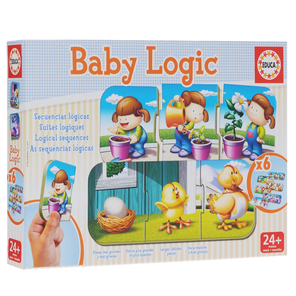 Игра-пазл Логика, 6х3 элемента15860Игра-пазл Логика обязательно привлечет внимание вашего малыша и поднимет настроение жизнерадостными образами! Комплект включает в себя 18 элементов, с помощью которых ребенок сможет собрать шесть логических картинок. Пазлы собираются из трех элементов. Ребенку предстоит сформировать последовательность между картинками, выстроив логическую цепочку, например: яйцо - цыпленок - курица. Благодаря прочному материалу детали пазлов легко крепятся между собой, а крупный размер деталей будет удобен для маленьких ручек малыша. Игра-пазл Логика поможет ребенку в развитии логического мышления, воображения, памяти и мелкой моторики рук.
