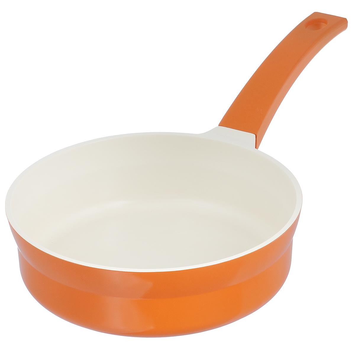 Сковорода Mayer & Boch, с керамическим покрытием, цвет: оранжевый. Диаметр 24 см. 2124221242оранжевыйСковорода Mayer & Boch изготовлена из литого алюминия с керамическим покрытием. Сковорода предназначена для здорового и экологичного приготовления пищи. Пища не пригорает и не прилипает к стенкам. Абсолютно гладкая поверхность легко моется. Посуда экологически чистая, не содержит примеси ПФОК. Рукоятка специального дизайна, выполненная из пластика с силиконовым покрытием, удобна и комфортна в эксплуатации. Внешнее цветное покрытие устойчиво к воздействию высоких температур. Можно использовать на газовых, электрических, стеклокерамических, галогеновых, индукционных плитах. Можно мыть в посудомоечной машине. Высота стенки: 6,8 см. Толщина стенки: 5 мм. Толщина дна: 9 мм. Длина ручки: 21 см. Диаметр индукционного диска: 18 см.