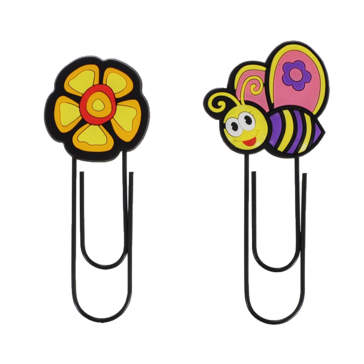 Набор скрепок-закладок Fancy Пчелка, цветок, 2 шт.C15414/ FMB1125_пчелка/цветокОригинальная закладка для книг и учебников в виде большой скрепки, украшенной забавной фигуркой, обязательно понравится вашему ребенку и не даст ему забыть, на какой странице книги он остановился. Такая закладка всегда поможет быстро найти нужную страницу и подарит хорошее настроение. В набор входят две скрепки-закладки, украшенные фигурками пчелки и цветка. Характеристики: Общая длина скрепки-закладки: 12 см. Размер пчелки: 5 см х 5 см. Материал: ПВХ, металл.