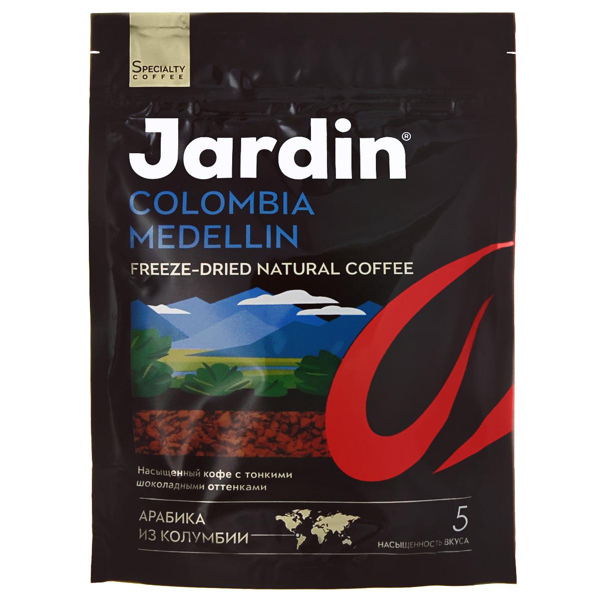 Jardin Colombia Medellin кофе растворимый, 280 г (м/у)0916-08Растворимый кофе Jardin Colombia Medellin обладает крепким, насыщенным, интенсивным ароматом. Вкус арабики из колумбийского региона Меделлин особо ценится за сочетание цветочных и шоколадных нот. А всего одна ложка сахара добавит вкусу новые карамельные ноты крем-брюле.