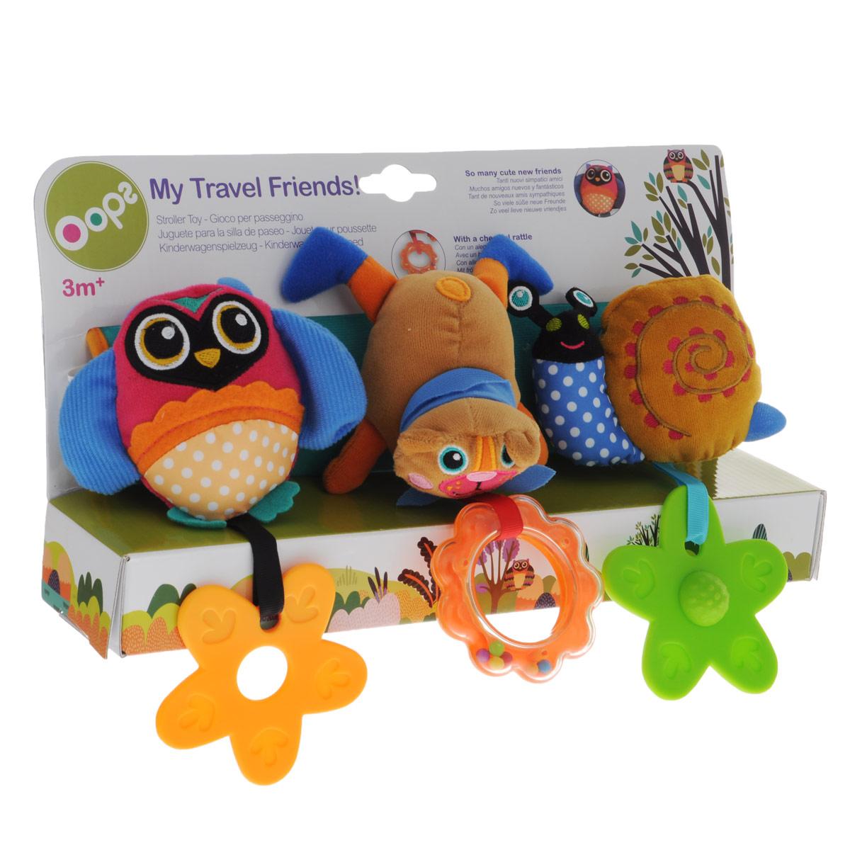Игрушка-подвеска OOPS My Travel Friends, на манжетеO 12004.10Игрушка-подвеска OOPS My Travel Friends представляет собой развивающий комплекс на манжете, к которой прикреплены игрушки в виде совушки, собачки и улитки. Игрушки выполнены из текстильных материалов различной фактуры. Малыш сможет поворачивать их в обе стороны под веселые звуки трещотки. На текстильные веревочки к игрушкам подвешены два прорезывателя и погремушка. С помощью липучки манжету можно прикрепить к кроватке, коляске, автокреслу или игровой дуге малыша. Играя с этими милыми животными в пути, ваш ребенок будет развивать крупную и мелкую моторику рук, цветовое восприятие и координацию движений.