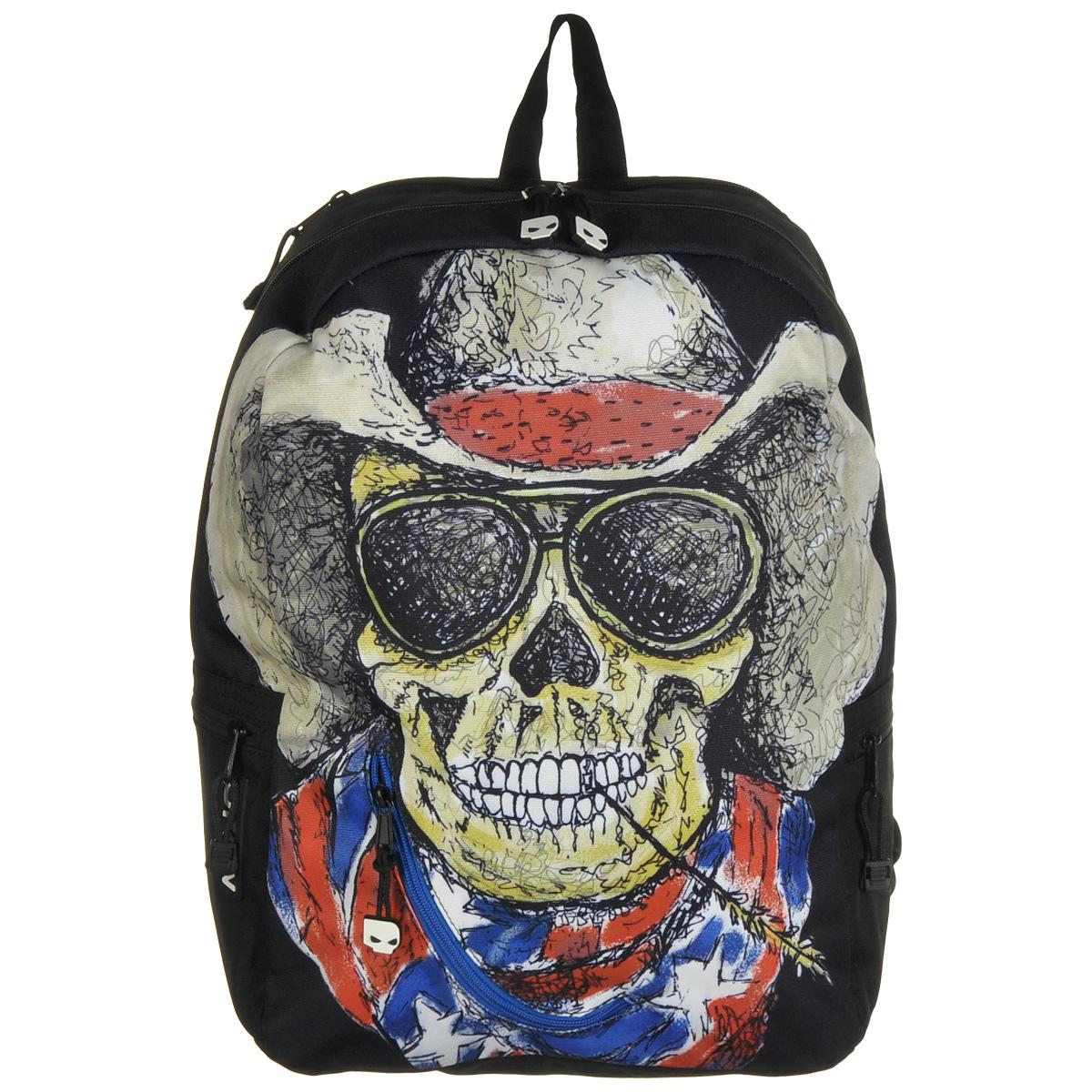 Рюкзак городской Mojo Pax Cowboy Skull, 20 лKZ9983493Городской рюкзак Mojo Pax Cowboy Skull подходит для тех, кто привык шокировать и выделяться из толпы. Идеальный вариант для школьников и студентов. Рюкзак выполнен из плотного полиэстера с оригинальным рисунком, материал изделия устойчив к воздействию влаги и не выгорает. Модель очень вместительная и функциональная: в основной отсек, закрывающийся на застежку-молнию, вместятся тетрадки, учебники и другие вещи. Также имеется специальное отделение для планшета, с мягкими стенками для защиты гаджета от повреждений. Снаружи расположено 3 кармашка на молнии для мелочей. Рюкзак имеет уплотненную спинку и мягкие широкие лямки регулируемой длины, а также петлю для переноски в руке. Смелость, независимость и чувство юмора - вот что ценит современный городской одинокий рейнджер. Даже рюкзак, в котором он носит все нужное, притягивает взгляды и вызывает восхищенную улыбку! Этот улыбающийся череп в ковбойской шляпе, солнечных очках и с колоском в зубах такой обаятельный и...