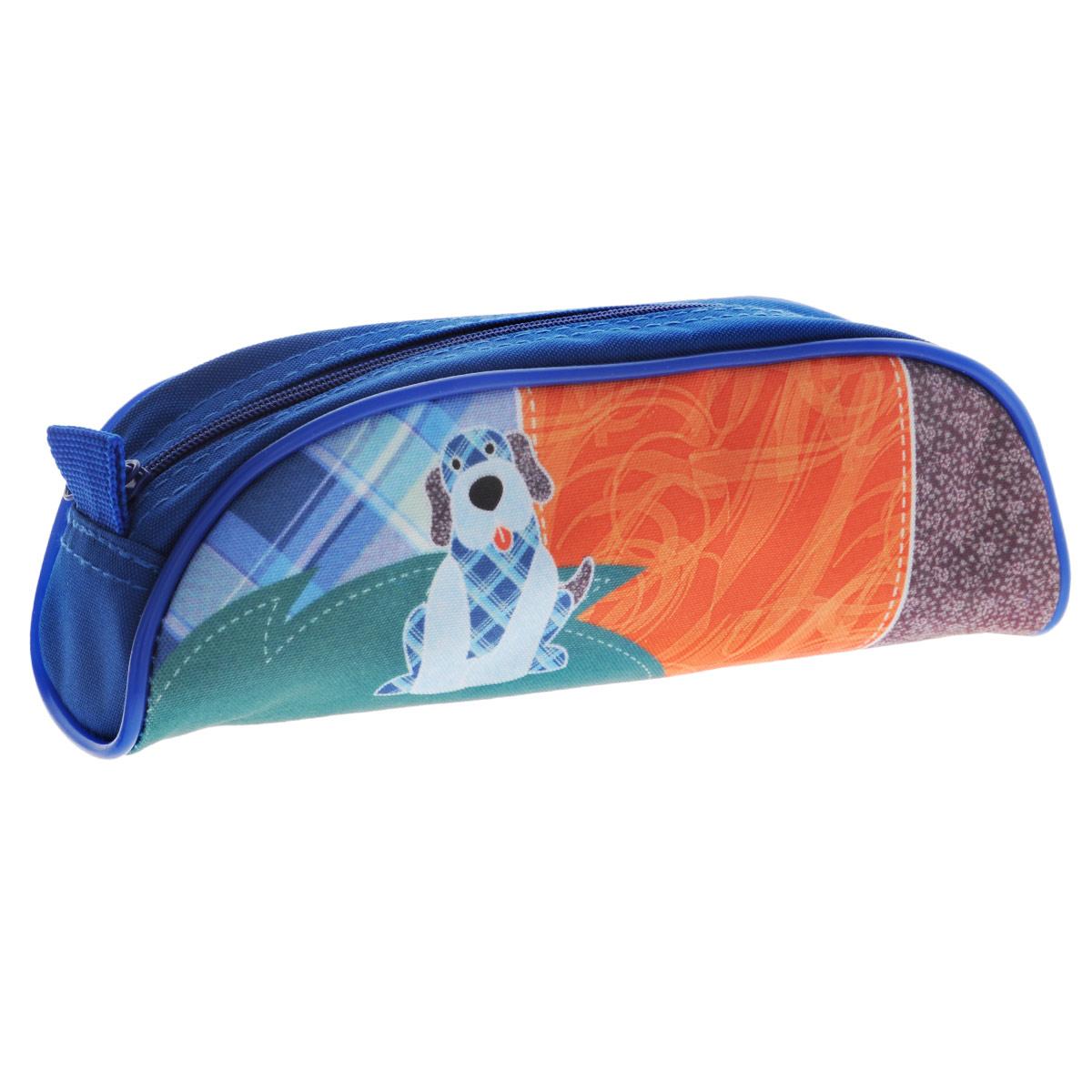 Пенал на молнии Joy Collection Собака, цвет: синий, оранжевый. 3902/TG3902/TG_синий/оранж/собакаПенал на молнии Joy Collection Собака выполнен из высококачественного прочного полиэстера и оформлен изображением забавной собачки. Яркий и красочный пенал имеет одно отделение и надежную застежку-молнию, предназначен для хранения школьных канцелярских принадлежностей.