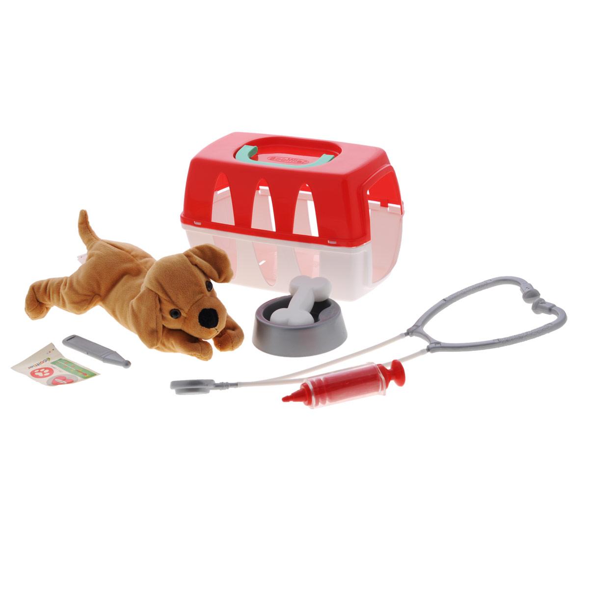 Набор ветеринара Ecoiffier, 8 предметов1907Игровой набор Ecoiffier включает в себя полный набор необходимых аксессуаров для маленького ветеринара, которые создадут увлекательную атмосферу игры. В комплект входят: мягкая игрушка в виде собачки, картонный ошейник, миска, косточка, шприц, градусник, стетоскоп, чемоданчик. Благодаря чемоданчику с удобной ручкой ваш ребенок всегда сможет взять с собой набор на прогулку или в поездку. С этим замечательным набором ребенок сможет вылечить собачку и других игрушек и почувствовать себя квалифицированным специалистом.