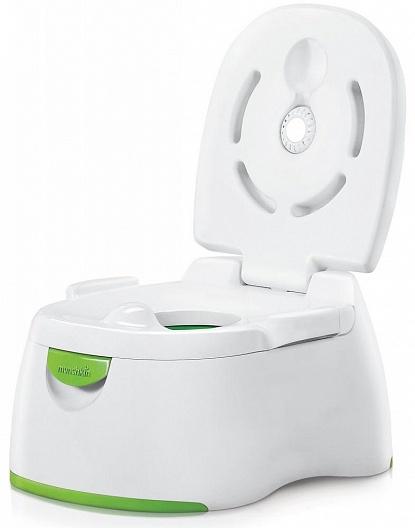 Munchkin горшок 3 в 1 18+, цвет: белый11476это горшок с удобным стульчаком и специальными ручками, за которые можно держаться. Для более опытных деток горшок можно использовать как подставку и съемное сиденье для взрослого унитаза, а также удобный подиум, позволяющий малышу достать до раковины. В крышке горшка предусмотрен специальный встроенный дезодорант с пищевой содой - как только вам потребуется освежить детский горшок, нажмите на специальный диск, расположенный в спинке.