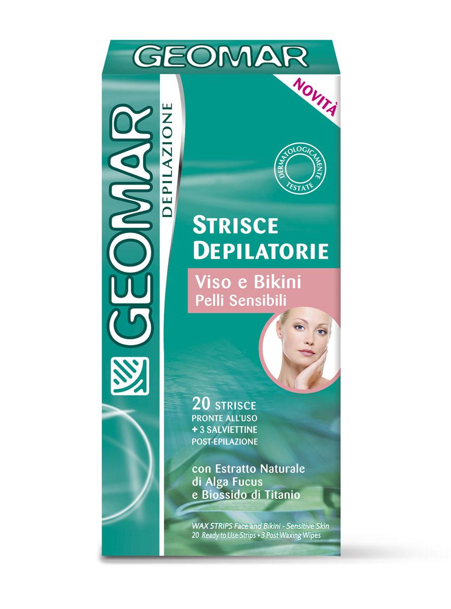 Geomar Готовые восковые полоски для удаления волос на лице и в зоне бикини для чувствительной кожи 20 шт