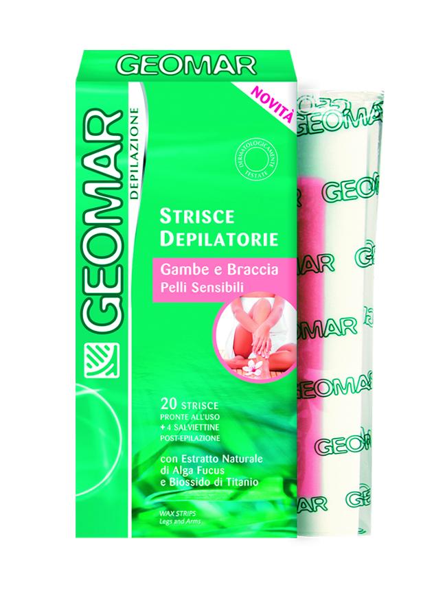Geomar Готовые восковые полоски для удаления волос на ногах и руках для чувствительной кожи 20 шт