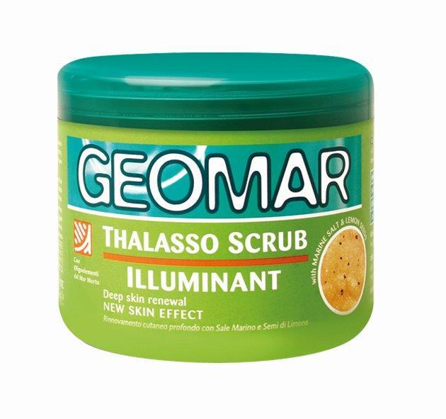 Geomar Талассо Скраб осветляющий с гранулами лимона 600 гр.38680253Отшелушивающий продукт, который удаляет мертвые клетки и загрязнения кожи, придавая коже мягкость, сияние, гладкость и увлажненность. Ингредиенты природного происхождения, содержащиеся в формуле, и экстракт клубники, богатый антиоксидантами, помогают уменьшить видимость признаков старения кожи.