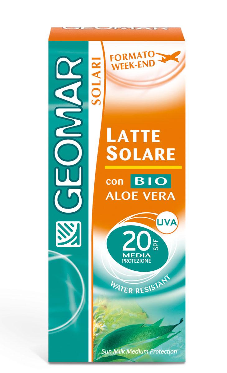 Geomar Молочко солнцезащитное Solari Bio с уровнем защиты SPF 20 75мл386808011Идеально для светлой кожи. помогает защитить кожу от вредного воздействия UVA и UVB лучей и предотвращает преждевременное старение кожи. Содержит органическое алое вера с увлажняющим и смягчающим свойствами. Его нежирная легкая текстура быстро впитывается и не оставляет белых следов. После нанесения кожа лица становится увлажненной и мягкой. Водоотталкивающий.