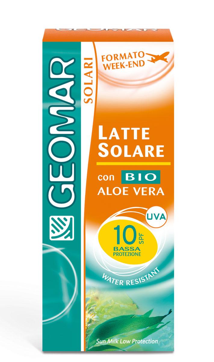 Geomar Молочко солнцезащитное Solari Bio с уровнем защиты SPF 10 75мл38680801Идеально для смуглой или уже загорелой кожи. Помогает защитить кожу от вредного воздействия UVA и UVB лучей и предотвращает преждевременное старение кожи. Содержит органическое алое вера с увлажняющим и смягчающим свойствами. Его нежирная легкая текстура быстро впитывается и не оставляет белых следов. После нанесения кожа лица становится увлажненной и мягкой. Водоотталкивающий.
