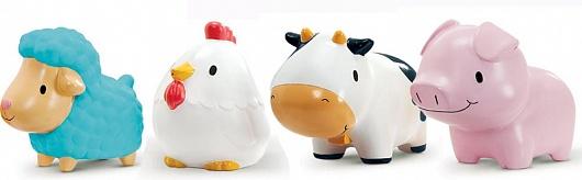 Munchkin игрушка для ванны деревенские зверюшки 9+12000Четыре забавные игрушки-брызгалки в виде деревенских зверюшек. Удобная форма: малыш сможет легко удерживать в ручках фигурки животных и сжимать их
