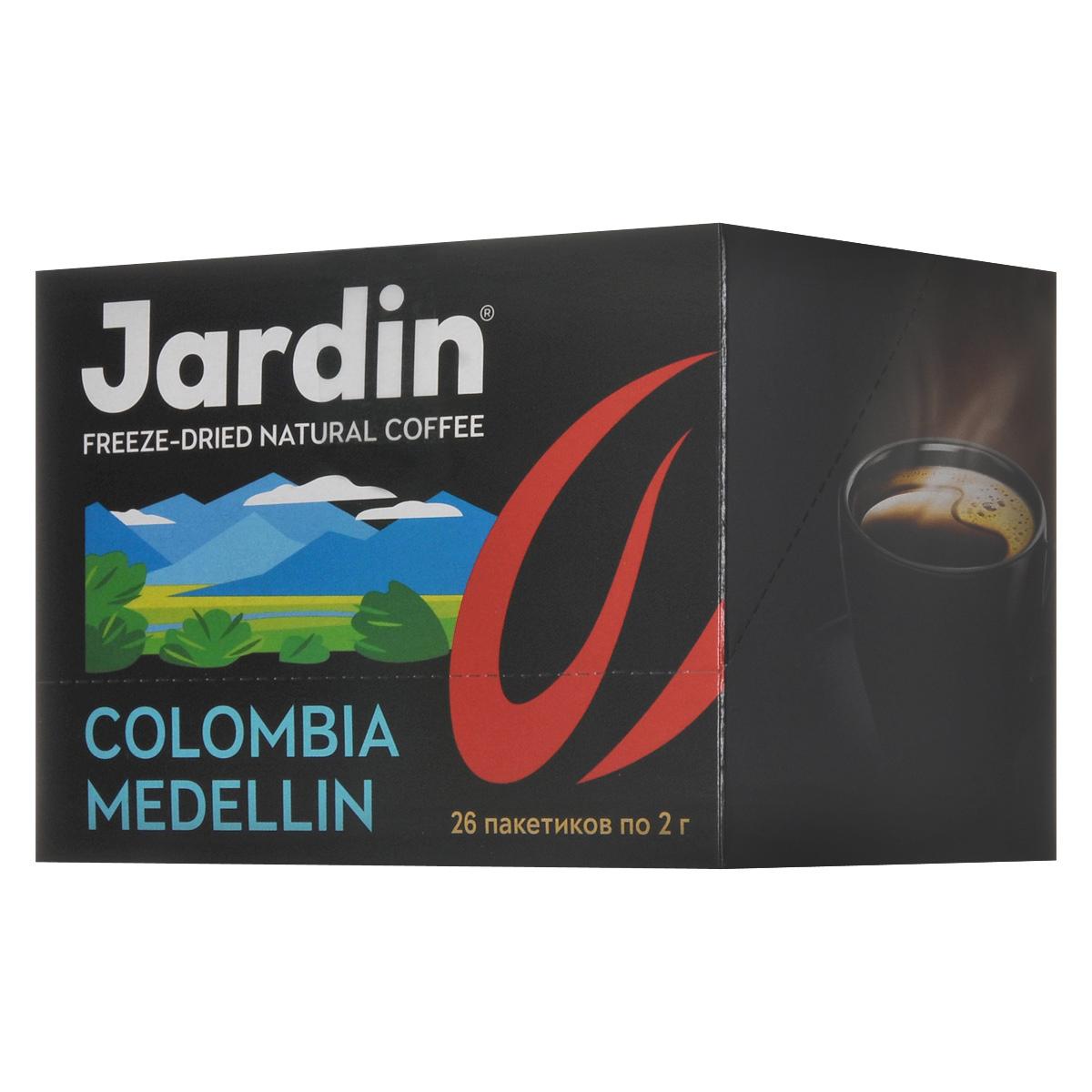 Jardin Colombia Medellin растворимый кофе в пакетиках, 26 шт0861-16Растворимый кофе в пакетиках Jardin Colombia Medellin обладает крепким, насыщенным, интенсивным ароматом. Вкус арабики из колумбийского региона Меделлин особо ценится за сочетание цветочных и шоколадных нот. А всего одна ложка сахара добавит вкусу новые карамельные ноты крем-брюле.