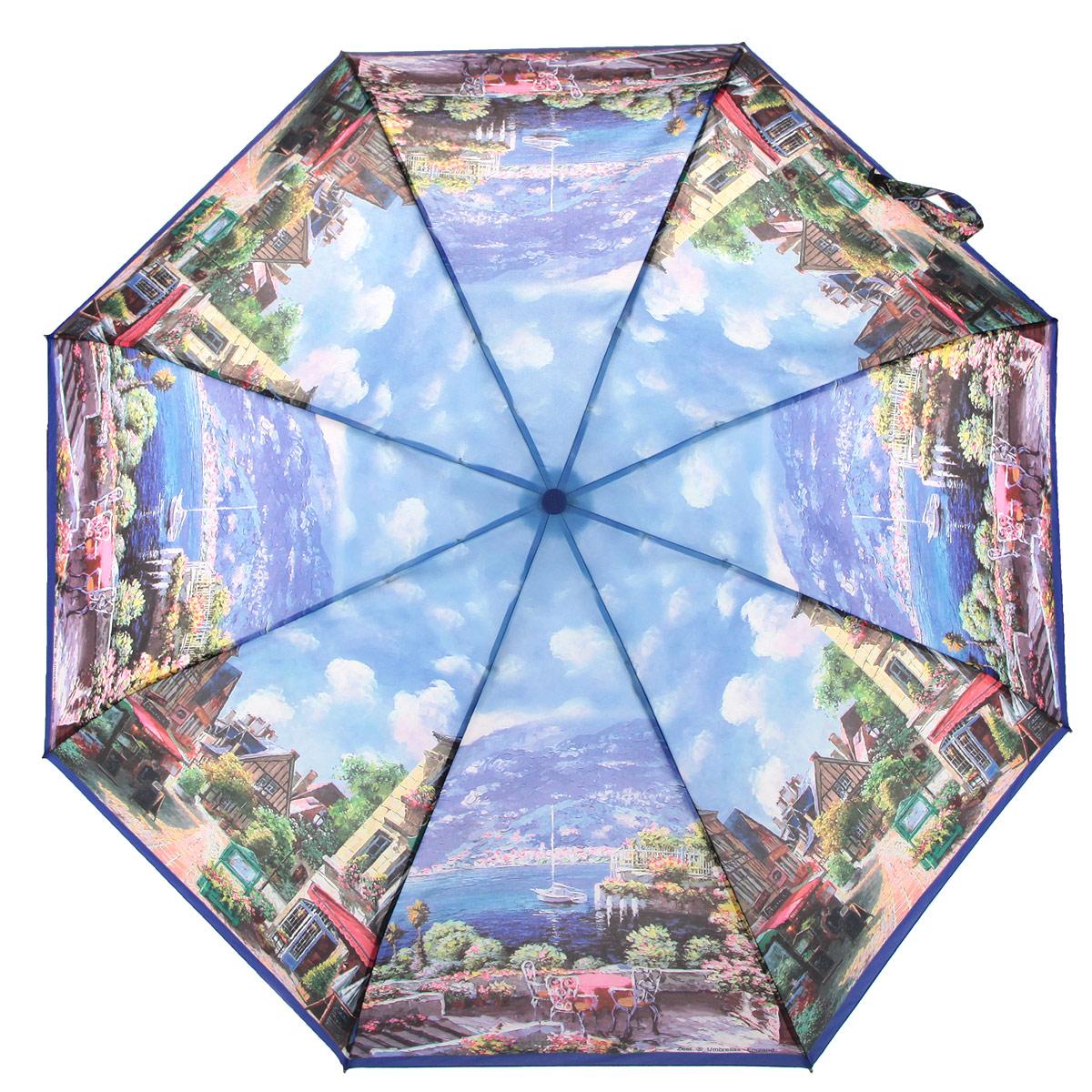 Зонт женский Zest, цвет: синий, мультицвет. 247555-03247555-03Стильный женский зонт ZEST с облегченным каркасом выполнен из алюминия с антикоррозийным покрытием, спицы из фибергласса, устойчивые к выгибанию. Купол зонта изготовлен полиэстера с водоотталкивающей пропиткой. Закрытый купол застегивается на липучку хлястиком. Практичная рукоятка закругленной формы разработана с учетом требований эргономики и выполнена из пластика. Зонт оснащен автоматическим механизмом и чехлом. Такой зонт не только надежно защитит от дождя, но и станет стильным аксессуаром.
