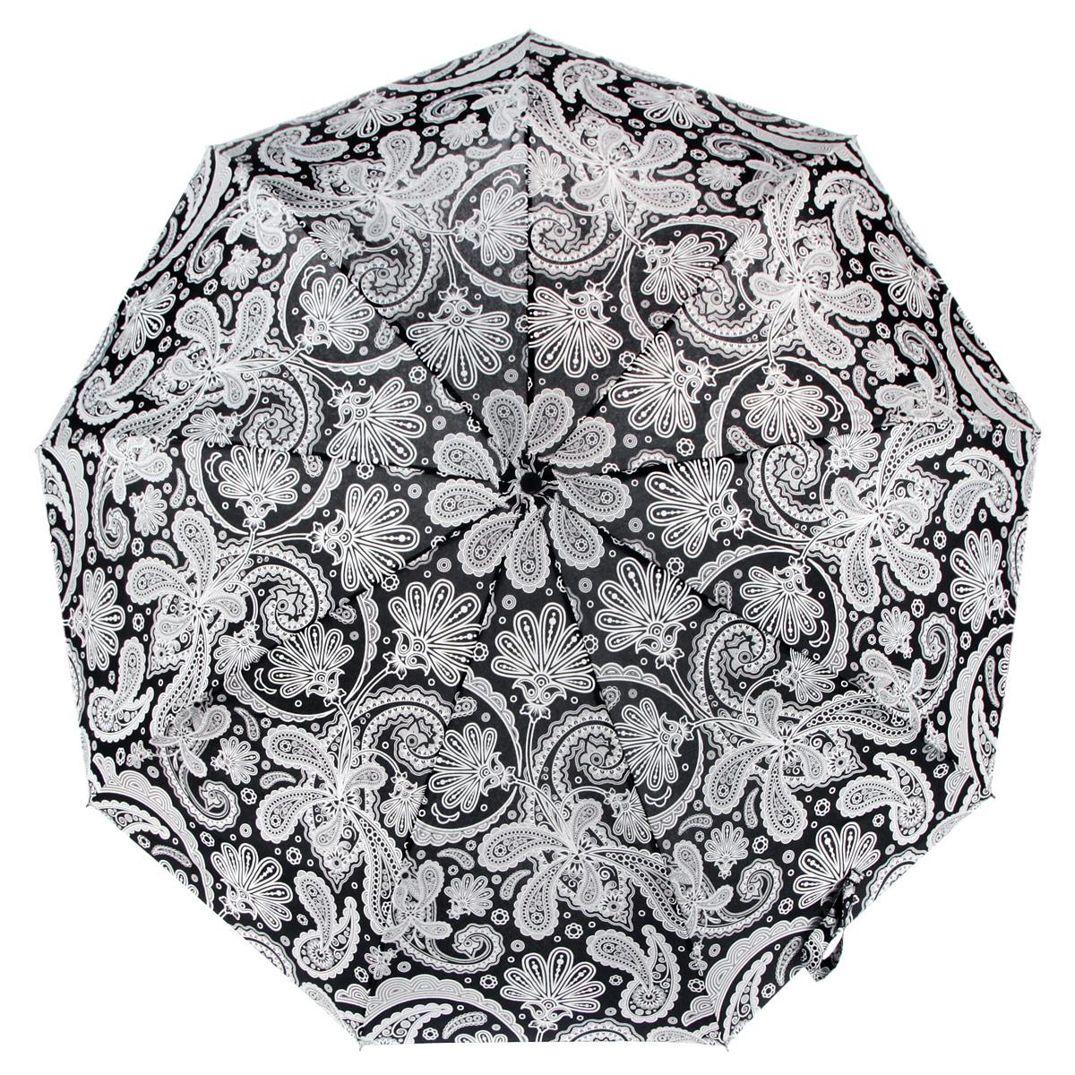 Зонт женский Zest, цвет: черный, белый. 239996-1191239996-1191Стильный женский зонт ZEST с удлиненным каркасом, выполнен из прочной стали с антикоррозийным покрытием, спицы из фибергласса, устойчивые к выгибанию. Купол зонта изготовлен прочного полиэстера. Закрытый купол застегивается на липучку хлястиком. Практичная рукоятка закругленной формы разработана с учетом требований эргономики и выполнена из пластика. Зонт оснащен автоматическим механизмом и чехлом. Такой зонт не только надежно защитит от дождя, но и станет стильным аксессуаром.
