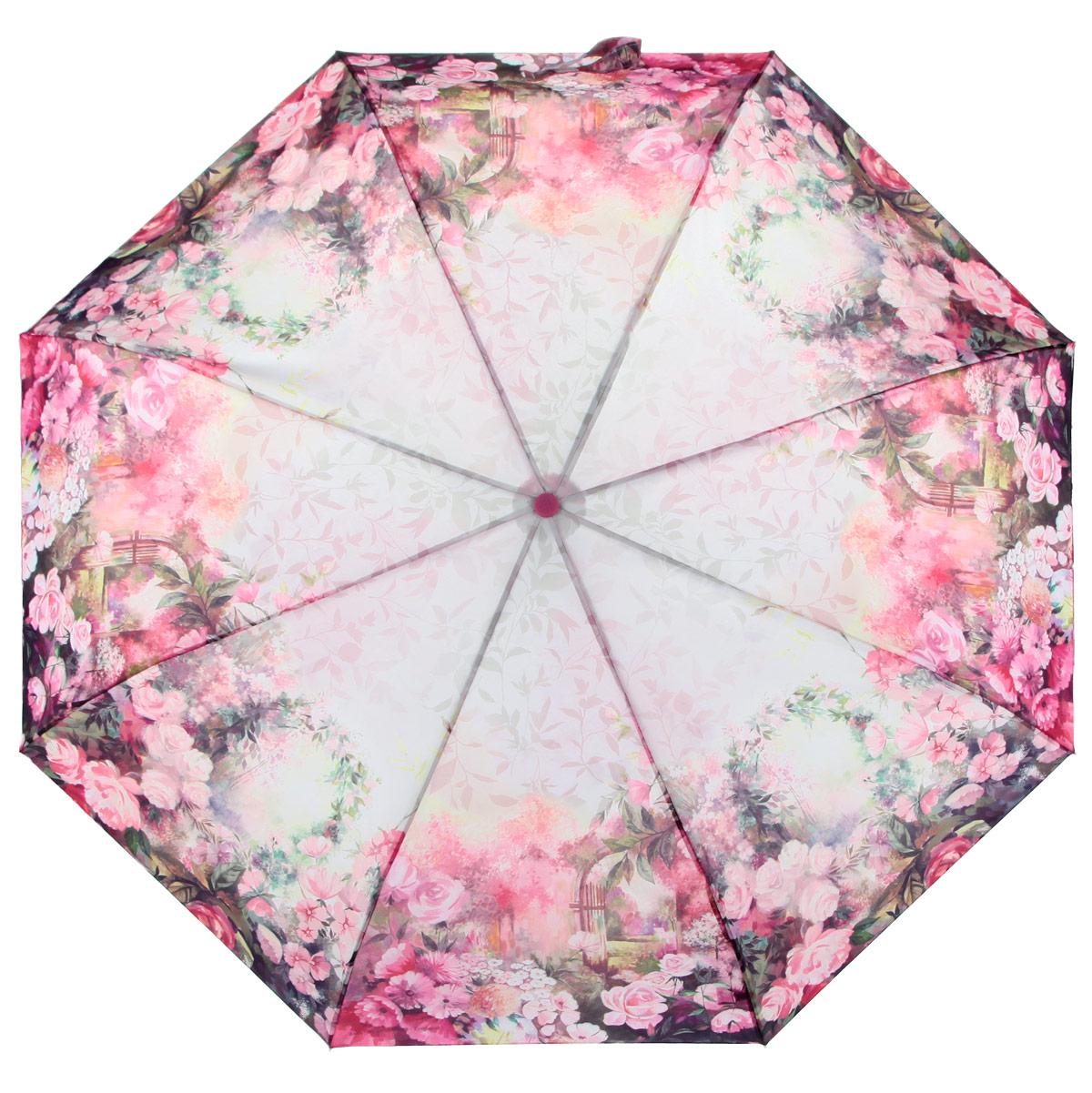 Зонт женский Zest, цвет: розовый, мультицвет. 239555-36239555-36Стильный женский зонт ZEST каркас зонта выполнен из прочной стали с антикоррозийным покрытием, спицы из фибергласса, устойчивые к выгибанию. Купол зонта изготовлен прочного полиэстера. Закрытый купол застегивается на липучку хлястиком. Практичная рукоятка закругленной формы разработана с учетом требований эргономики и выполнена из пластика. Зонт оснащен автоматическим механизмом и чехлом. Такой зонт не только надежно защитит от дождя, но и станет стильным аксессуаром.