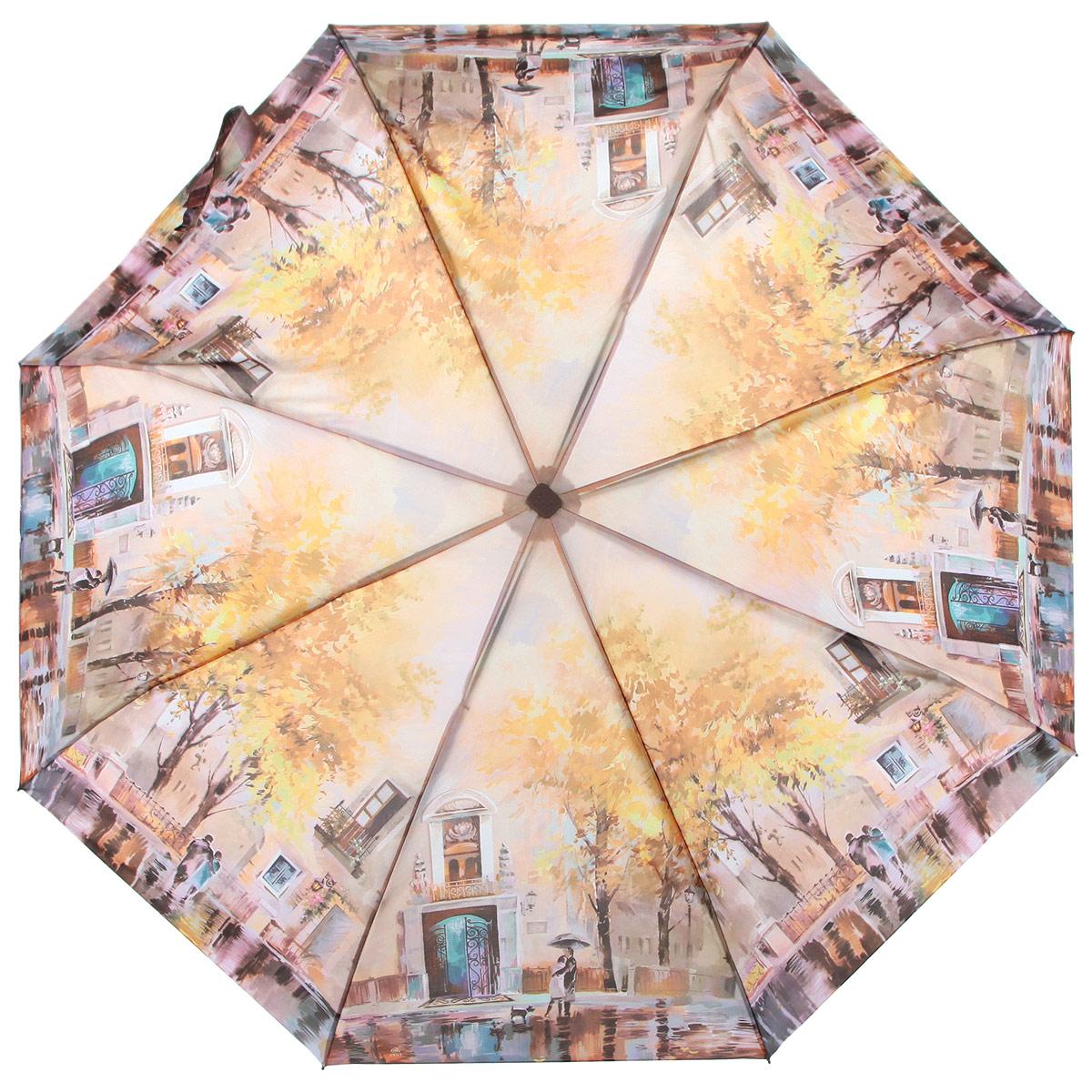 Зонт женский Zest, цвет: мультицвет. 23815-906723815-9067Компактный женский зонт ZEST выполнен из металла, пластика и оформлен ярким принтом. Каркас зонта выполнен из восьми спиц, стержень из стали. На концах спиц предусмотрены металлические элементы, которые защитят владельца от травм. Купол зонта изготовлен прочного полиэстера. Закрытый купол застегивается на липучку хлястиком. Практичная рукоятка закругленной формы разработана с учетом требований эргономики и выполнена из пластика. Зонт полностью автоматический. Такой зонт не только надежно защитит от дождя, но и станет стильным аксессуаром.