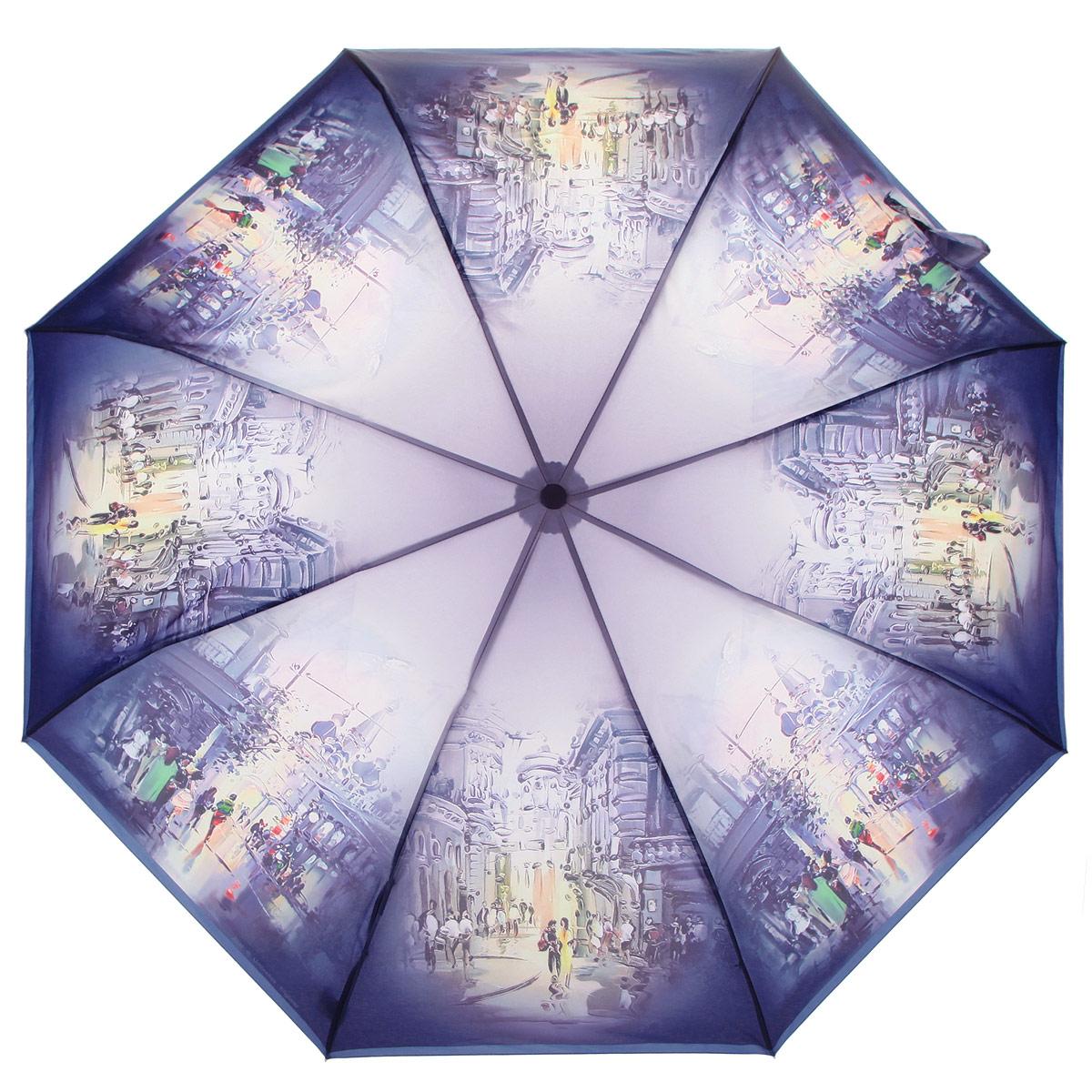 Зонт женский Zest, цвет: фиолетовый, мультицвет. 239555-25239555-25Стильный женский зонт ZEST выполнен из металла, пластика и оформлен ярким принтом. Каркас зонта выполнен из восьми спиц, стержень из стали. На концах спиц предусмотрены металлические элементы, которые защитят владельца от травм. Купол зонта изготовлен прочного полиэстера. Закрытый купол застегивается на липучку хлястиком. Практичная рукоятка закругленной формы разработана с учетом требований эргономики и выполнена из пластика. Зонт оснащен полуавтоматическим механизмом и чехлом. Такой зонт не только надежно защитит от дождя, но и станет стильным аксессуаром.