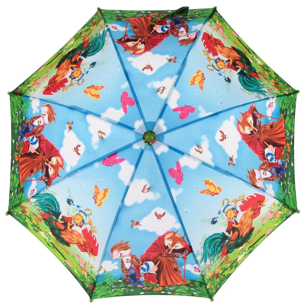 Зонт-трость детский Zest, цвет: голубой, зеленый, мультицвет. 21665-0121665-01Красочный детский зонт-трость ZEST выполнен из металла и пластика, оформлен принтом с изображениями героев известнейших сказок. Каркас зонта выполнен из восьми спиц, стержень из стали. На концах спиц предусмотрены пластиковые элементы, которые защитят малыша от травм. Купол зонта изготовлен прочного полиэстера. Закрытый купол застегивается на липучку хлястиком. Практичная глянцевая рукоятка закругленной формы разработана с учетом требований эргономики и выполнена из пластика. Зонт имеет полуавтоматический механизм сложения: купол открывается нажатием кнопки на рукоятке, а закрывается вручную до характерного щелчка. Такой зонт не только надежно защитит малыша от дождя, но и станет стильным аксессуаром.