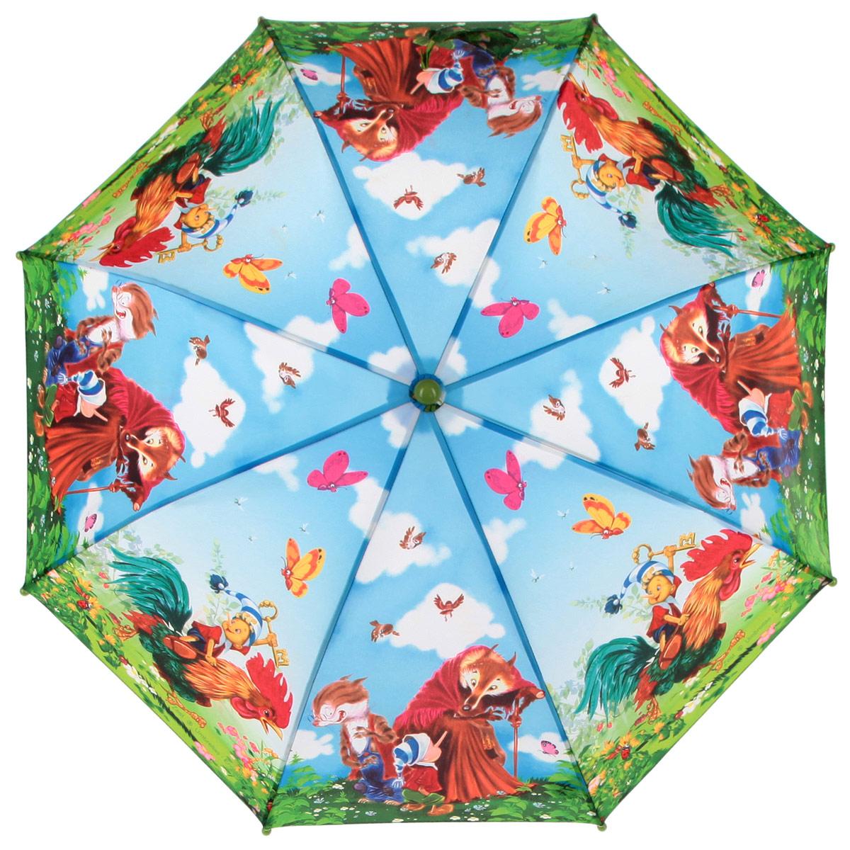 Зонт-трость Zest, цвет: зеленый, голубой, мультицвет. 21-0121-01Красочный детский зонт-трость ZEST выполнен из металла и пластика, оформлен принтом с изображениями героев известнейших сказок. Каркас зонта выполнен из восьми спиц, стержень из стали. На концах спиц предусмотрены пластиковые элементы, которые защитят малыша от травм. Купол зонта изготовлен прочного полиэстера. Закрытый купол застегивается на липучку хлястиком. Практичная глянцевая рукоятка закругленной формы разработана с учетом требований эргономики и выполнена из пластика. Зонт раскладывается и складывается при помощи механических воздействий.