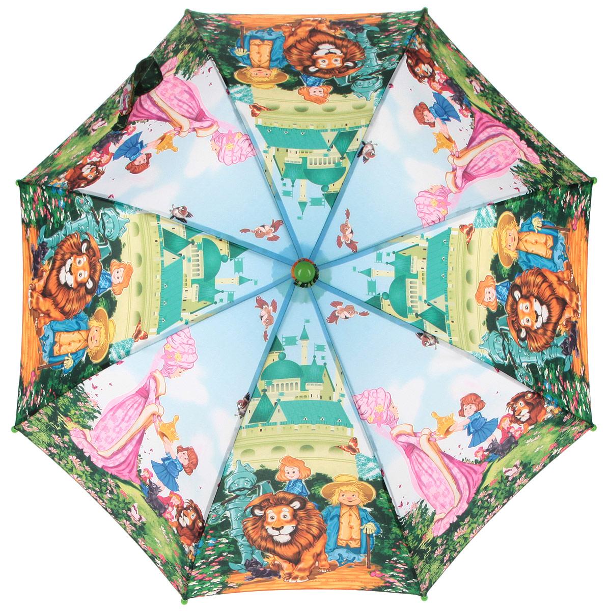 Зонт-трость детский Zest, цвет: голубой, зеленый, мультицвет. 21665-0321665-03Красочный детский зонт-трость ZEST выполнен из металла и пластика, оформлен принтом с изображениями героев известнейших сказок. Каркас зонта выполнен из восьми спиц, стержень из стали. На концах спиц предусмотрены пластиковые элементы, которые защитят малыша от травм. Купол зонта изготовлен прочного полиэстера. Закрытый купол застегивается на липучку хлястиком. Практичная глянцевая рукоятка закругленной формы разработана с учетом требований эргономики и выполнена из пластика. Зонт имеет полуавтоматический механизм сложения: купол открывается нажатием кнопки на рукоятке, а закрывается вручную до характерного щелчка. Такой зонт не только надежно защитит малыша от дождя, но и станет стильным аксессуаром.